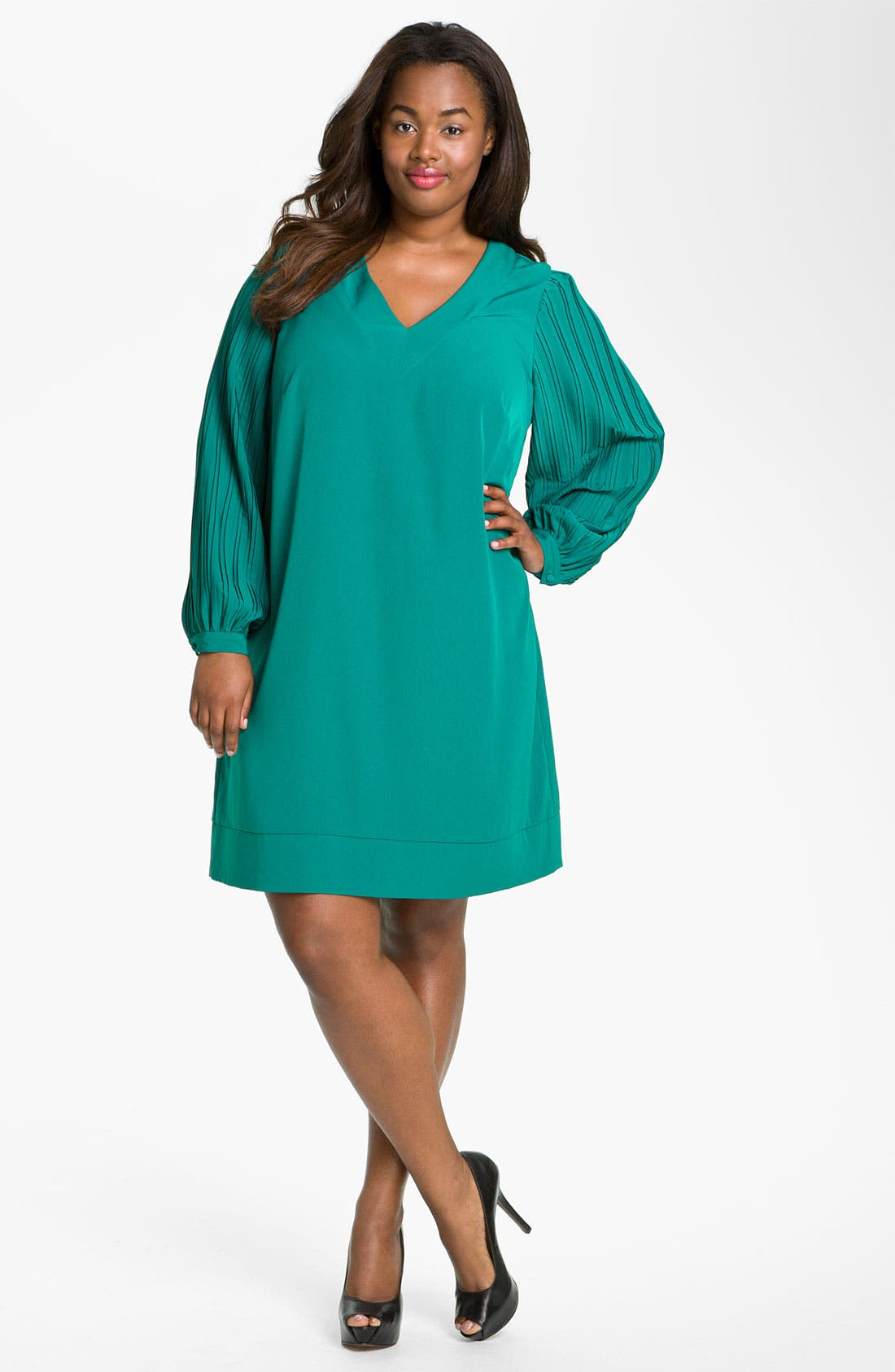 Alternate Image 1 Selected - Donna Ricco Pleat Sleeve Shift Dress (Plus)