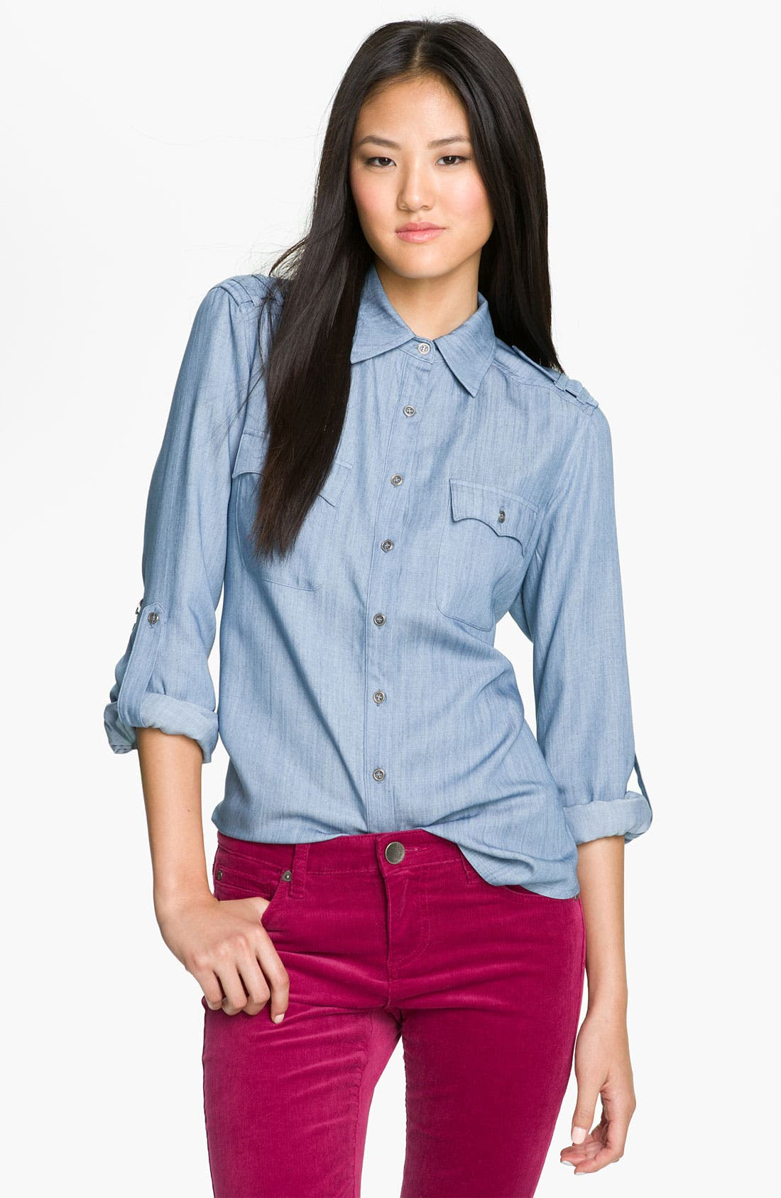 Main Image - Olivia Moon Roll Sleeve Chambray Shirt