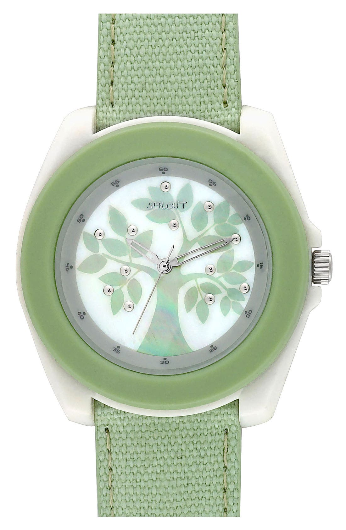 Main Image - SPROUT™ Watches Print Dial Cotton Strap Watch, 44mm
