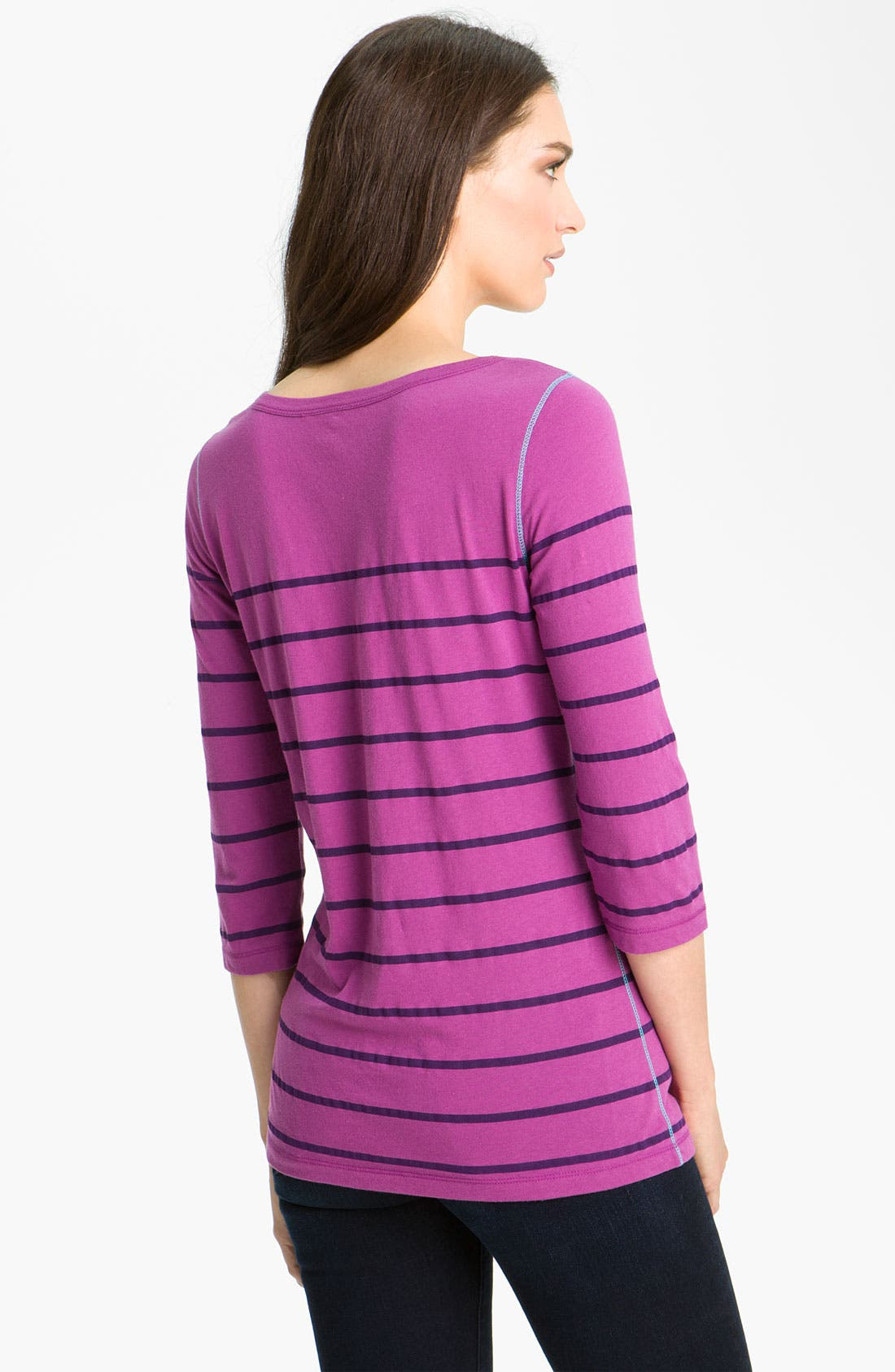 Alternate Image 2  - Caslon® Stripe Split Neck Tee