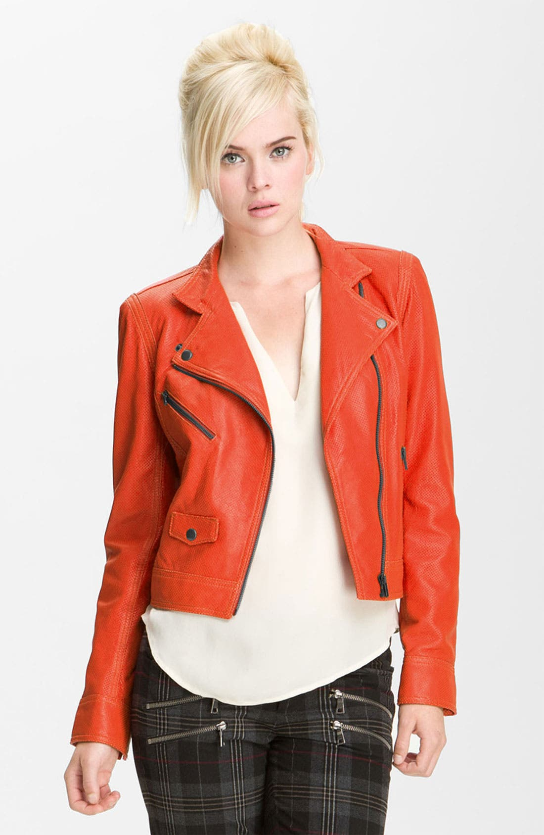 Alternate Image 1 Selected - Truth and Pride Perforated Leather Biker Jacket
