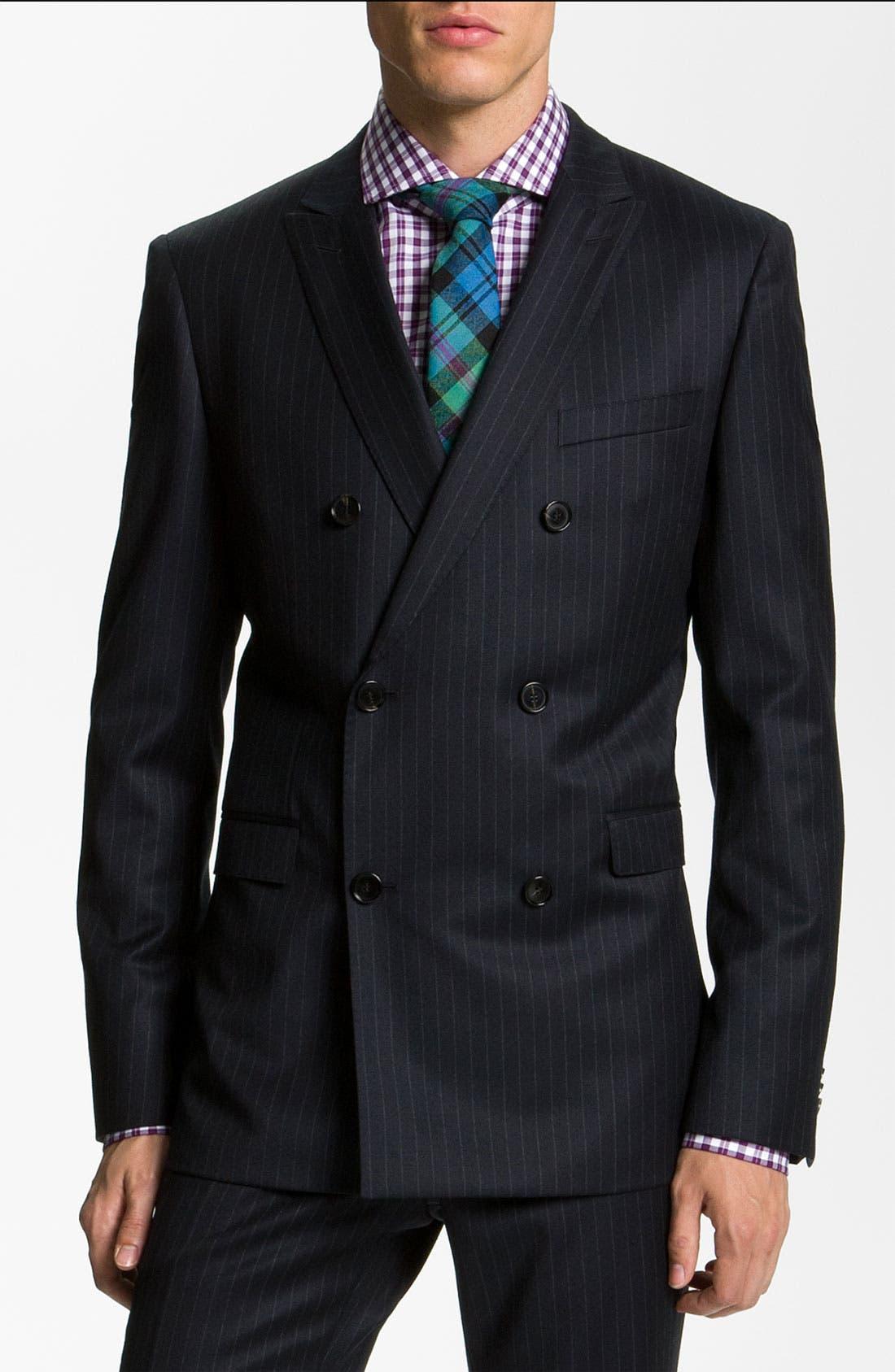 Alternate Image 1 Selected - BOSS Black 'Rusty/Win' Stripe Suit