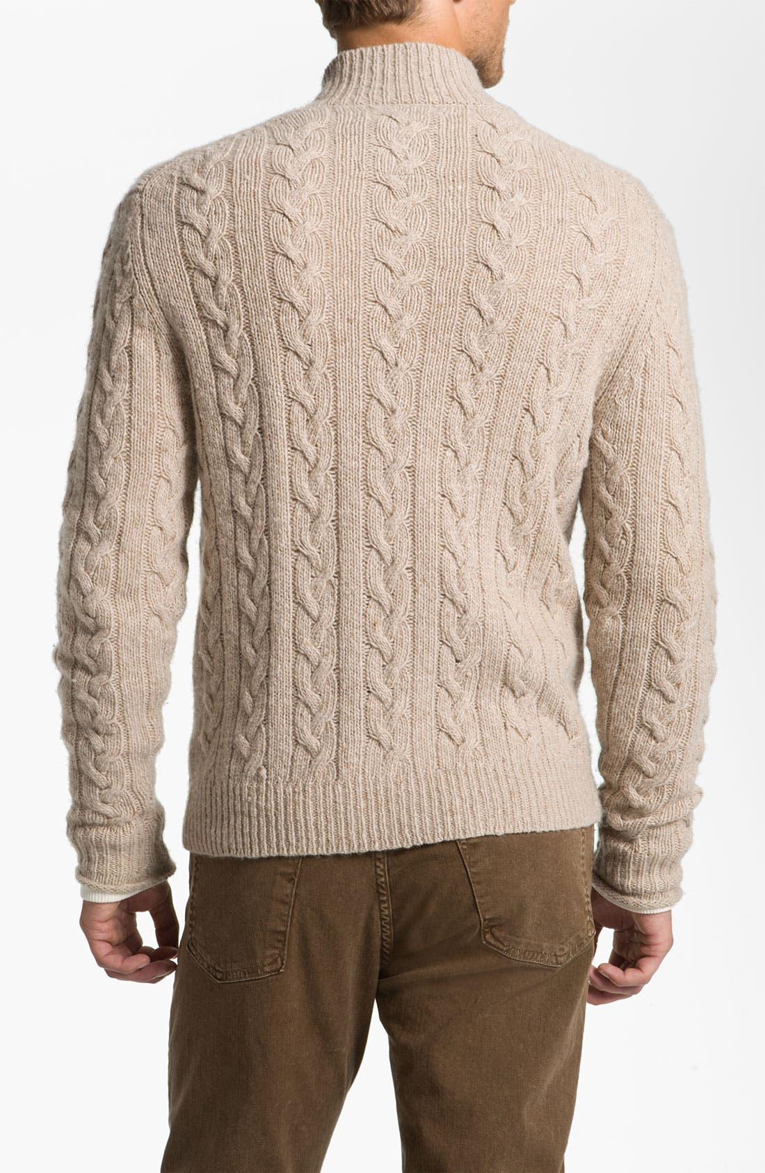 Alternate Image 2  - Hickey Freeman Cable Knit Merino Wool Blend Cardigan
