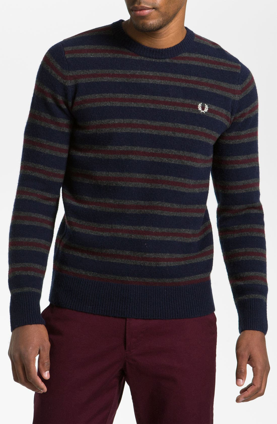 Alternate Image 1 Selected - Fred Perry Stripe Boiled Lambswool Sweater