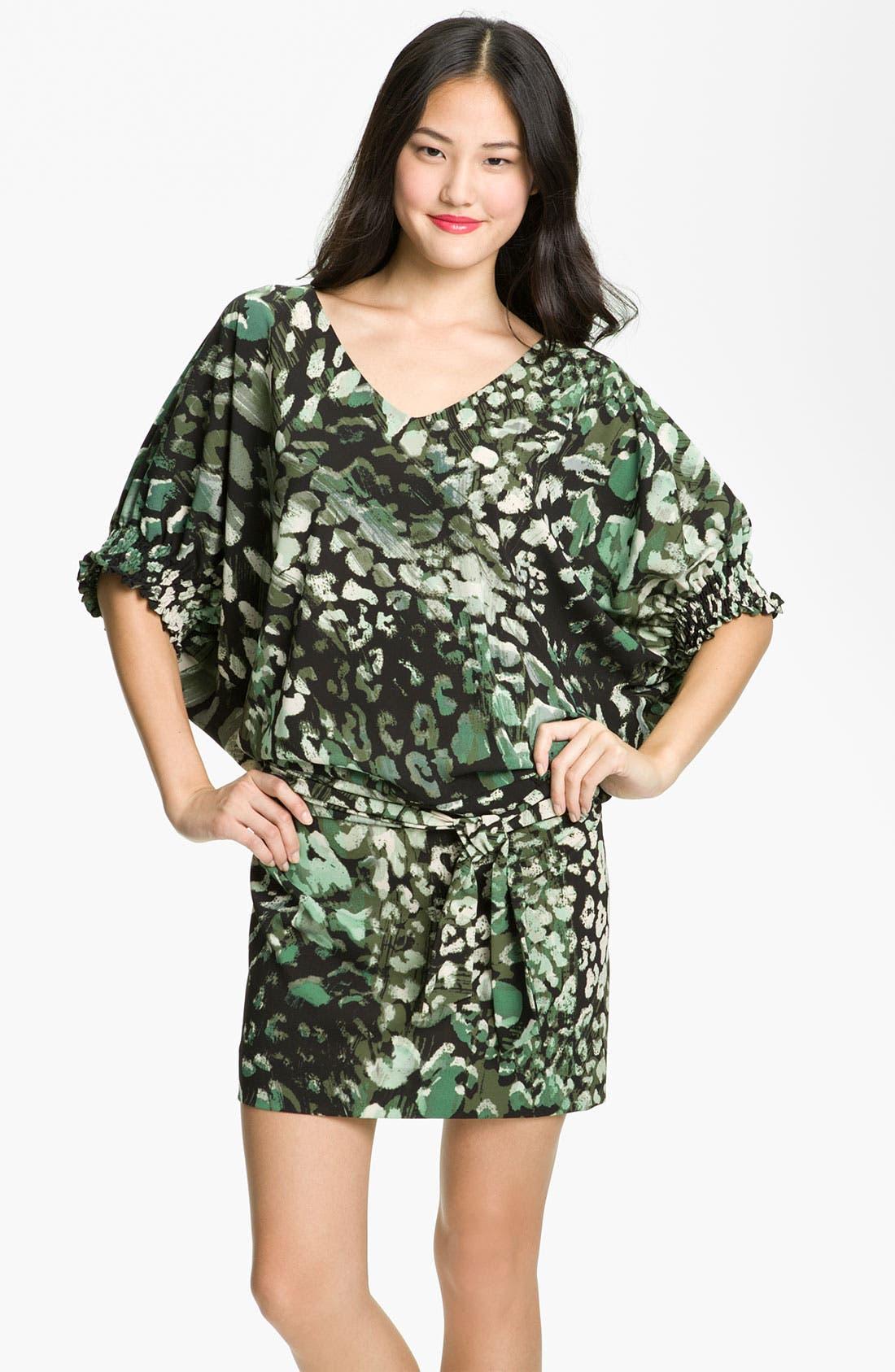 Main Image - Donna Ricco Animal Print Dolman Sleeve Blouson Dress