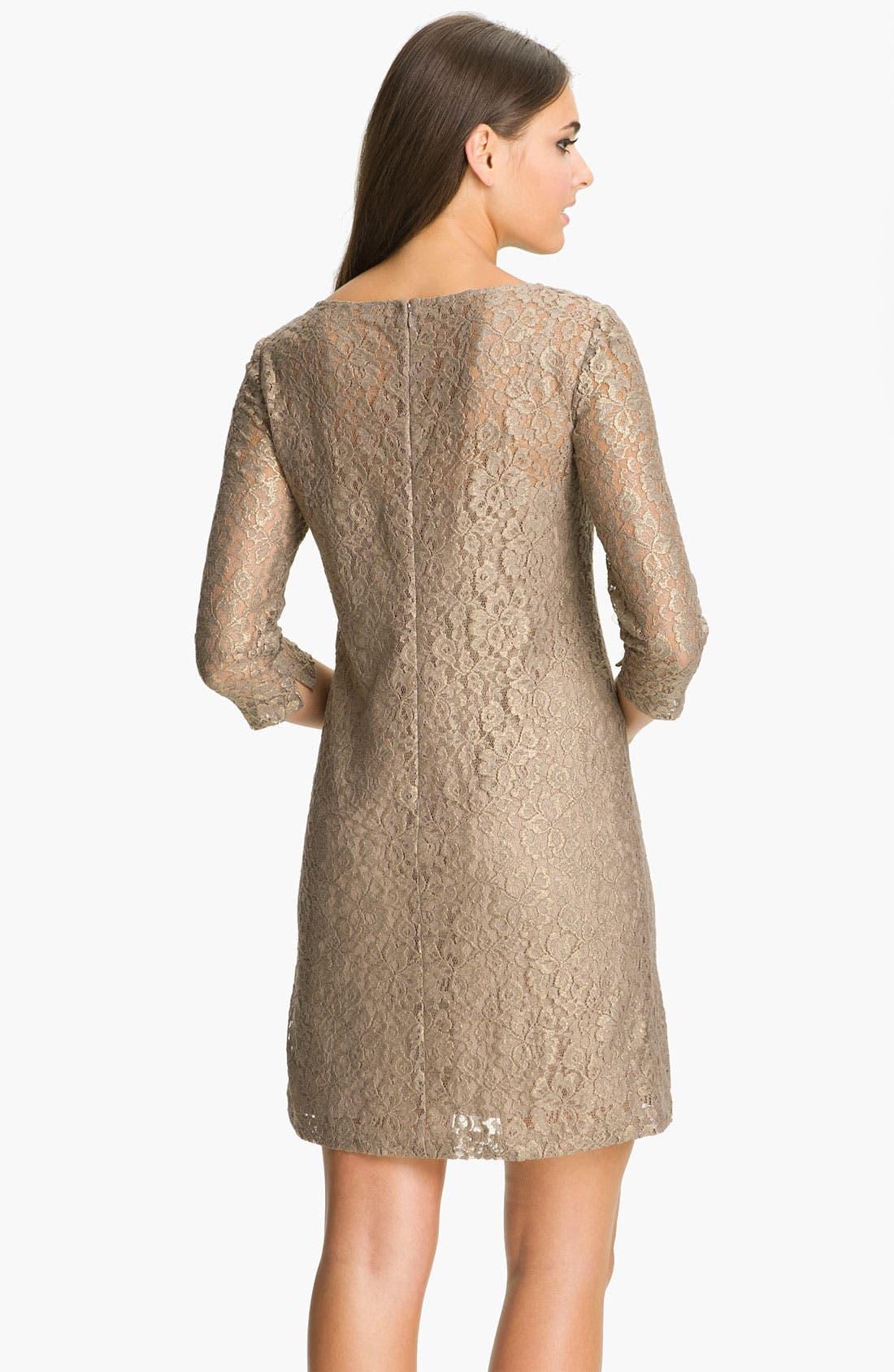 Alternate Image 2  - Donna Morgan Elbow Sleeve Lace Shift Dress