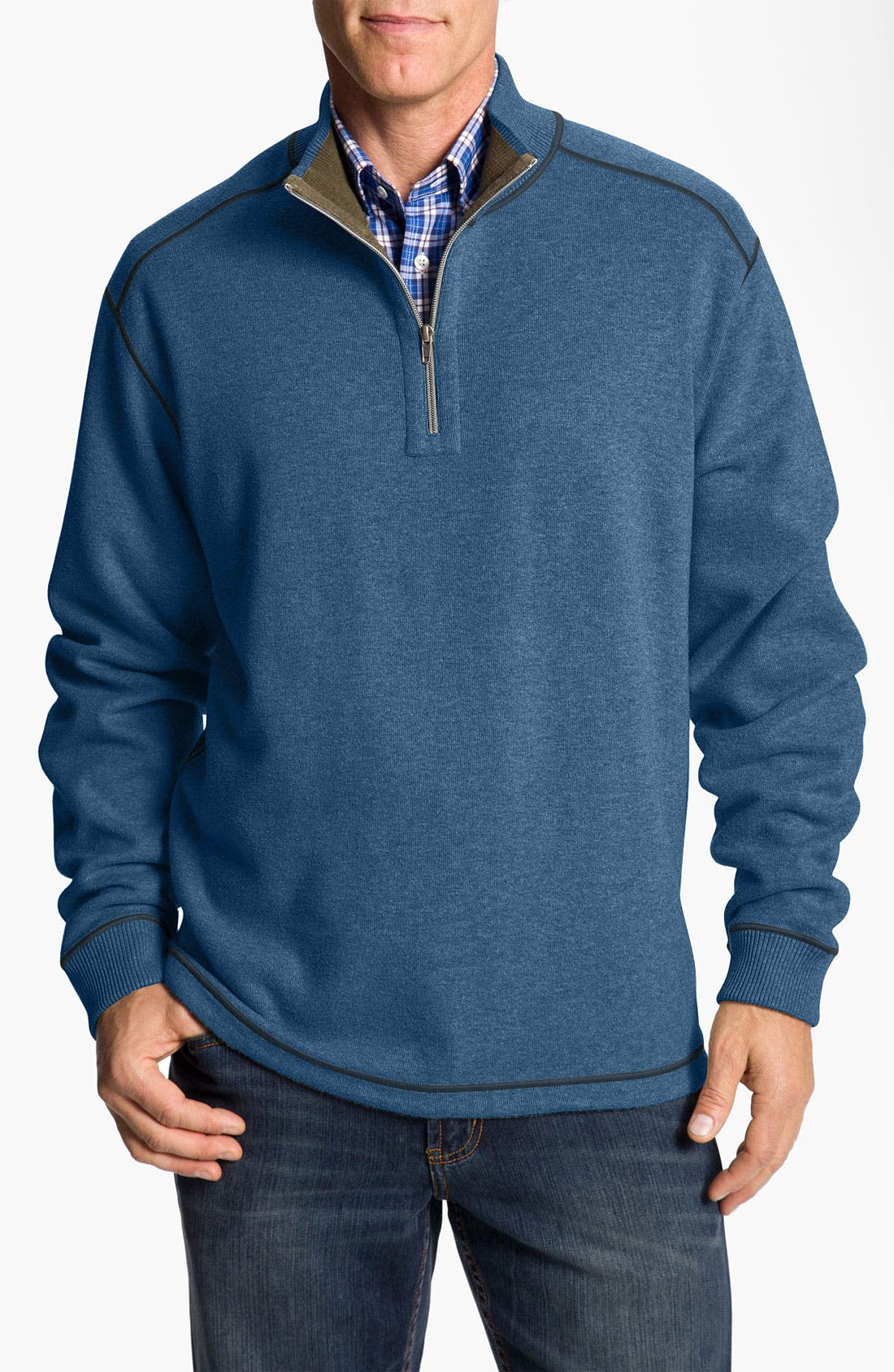 Main Image - Cutter & Buck 'Essex' Reversible Half Zip Sweatshirt (Big & Tall)