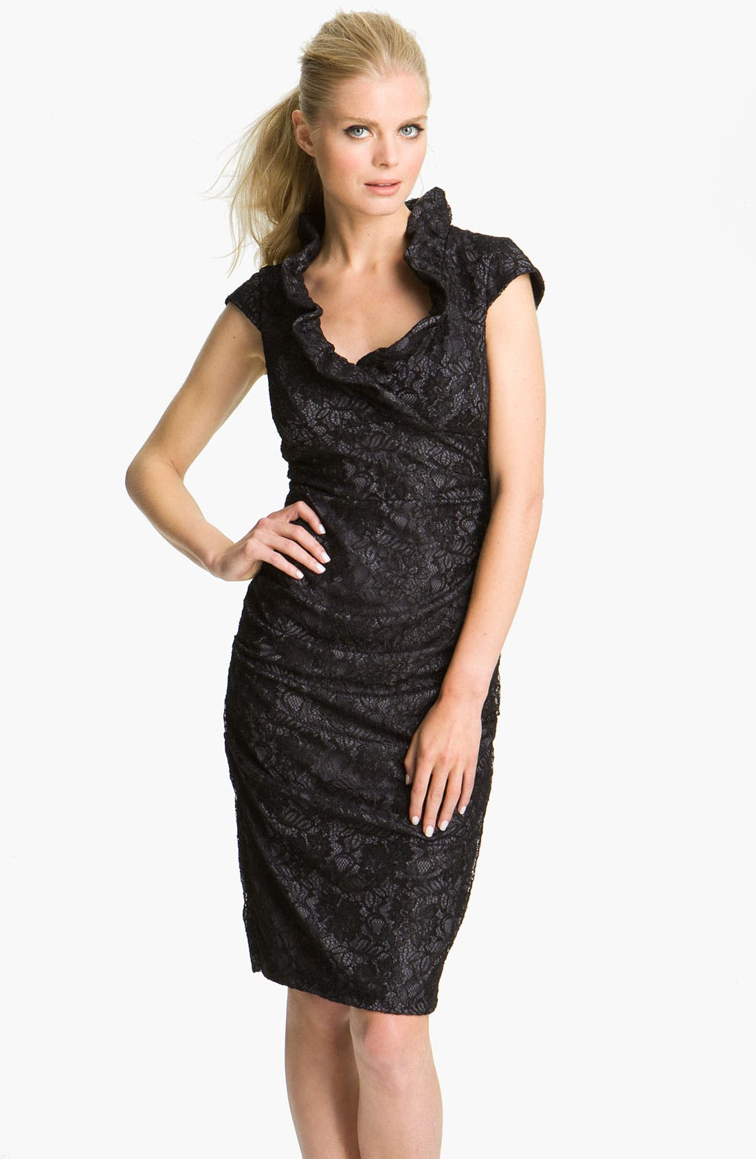 Alternate Image 1 Selected - Xscape Ruched Ruffle Collar Lace Dress