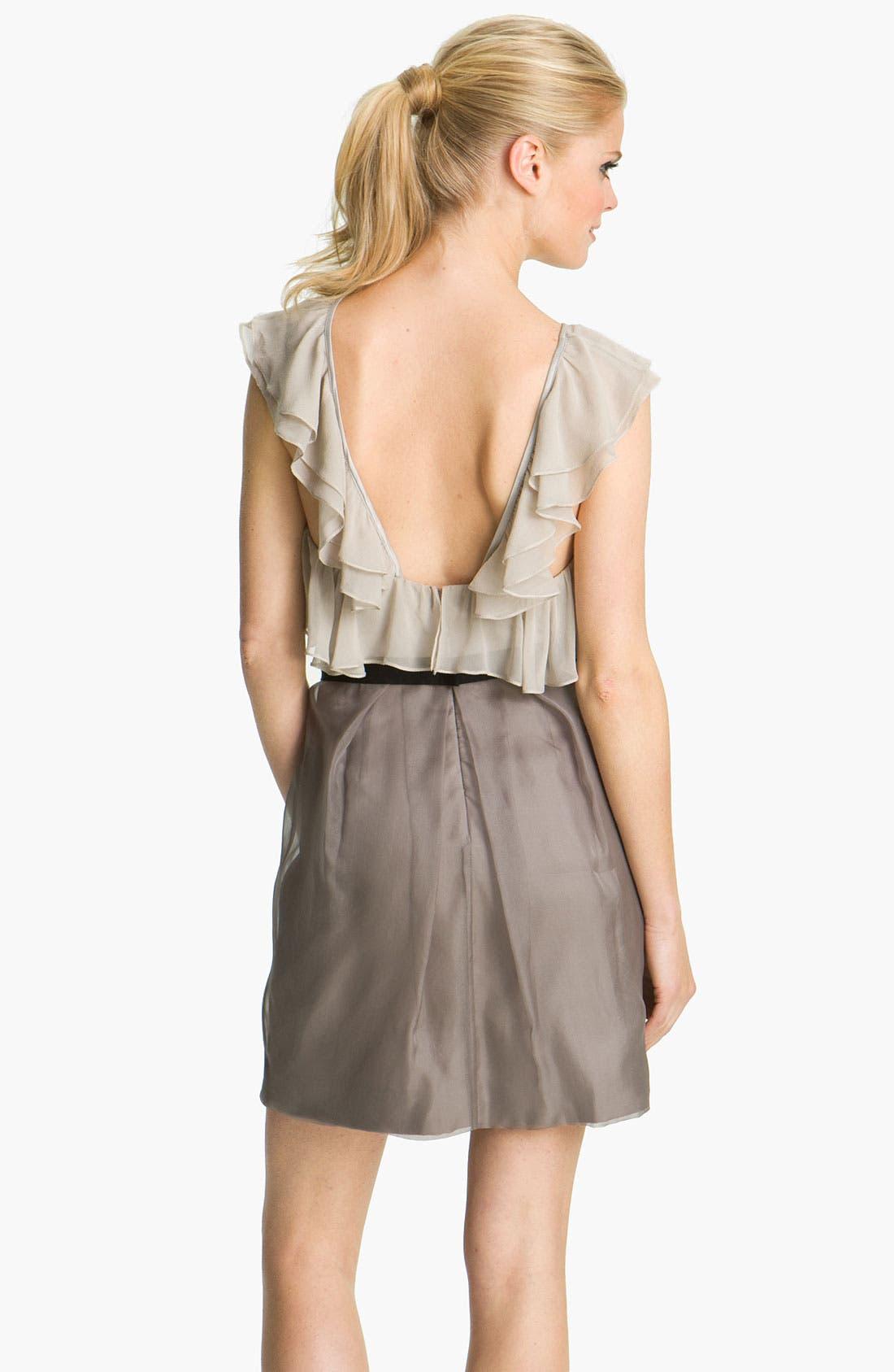 Alternate Image 2  - Vera Wang Lavender Ruffle Bodice Silk Dress