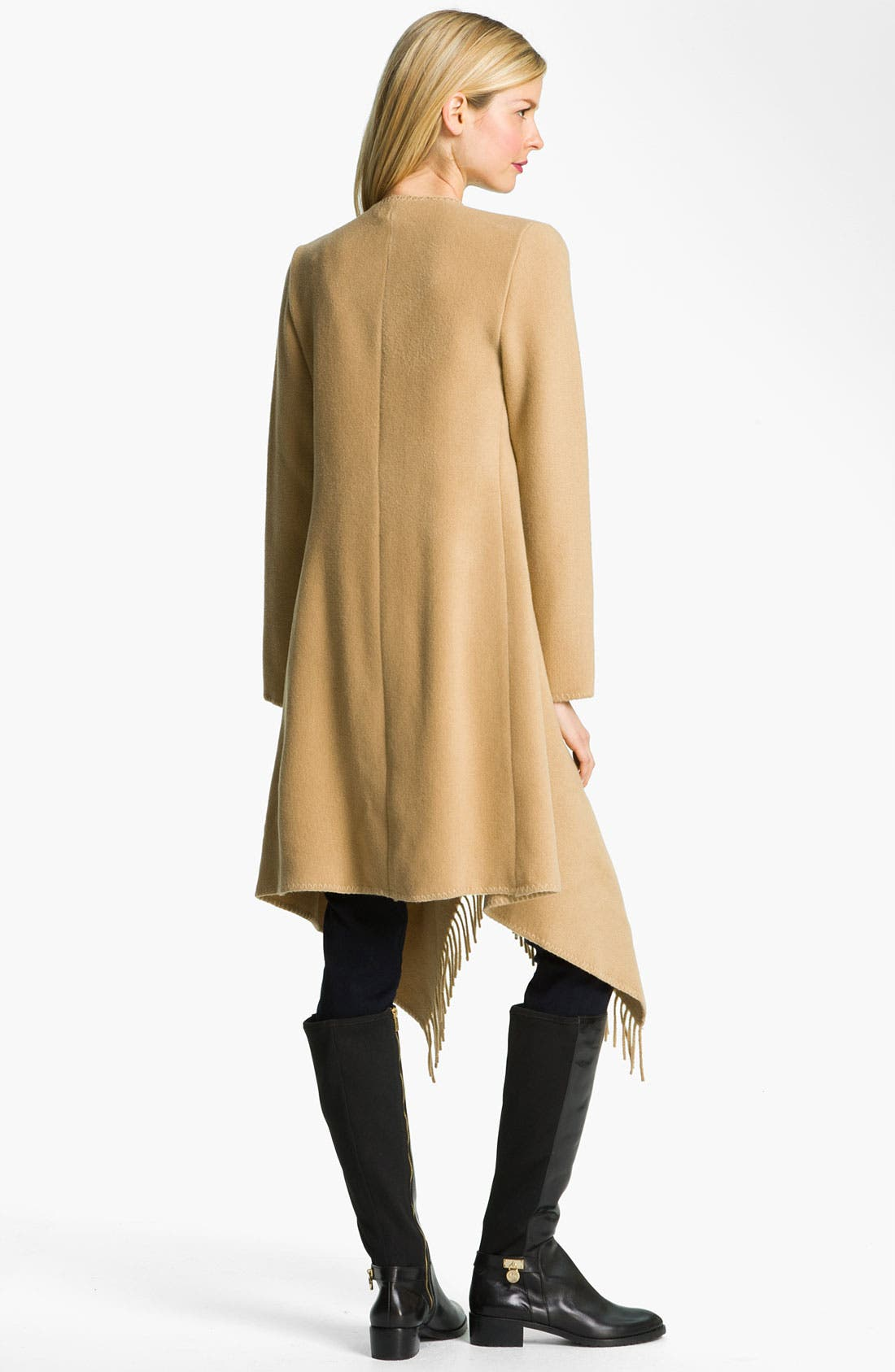 Alternate Image 2  - MICHAEL Michael Kors Fringed Wool Blend Coat