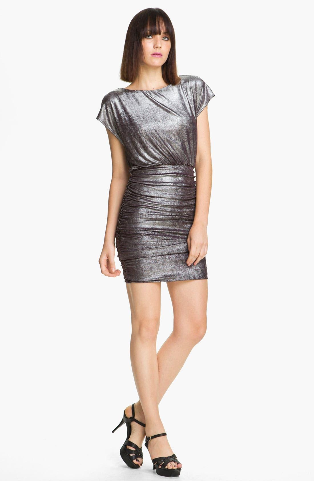 Main Image - Alice + Olivia 'Alysha' Metallic Ruched Dress