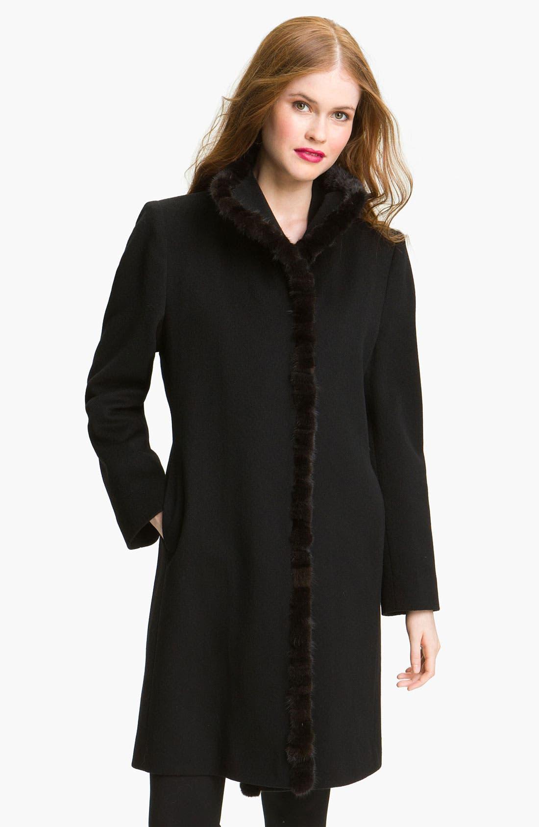 Alternate Image 1 Selected - Fleurette Loro Piana Wool Coat with Genuine Mink Fur