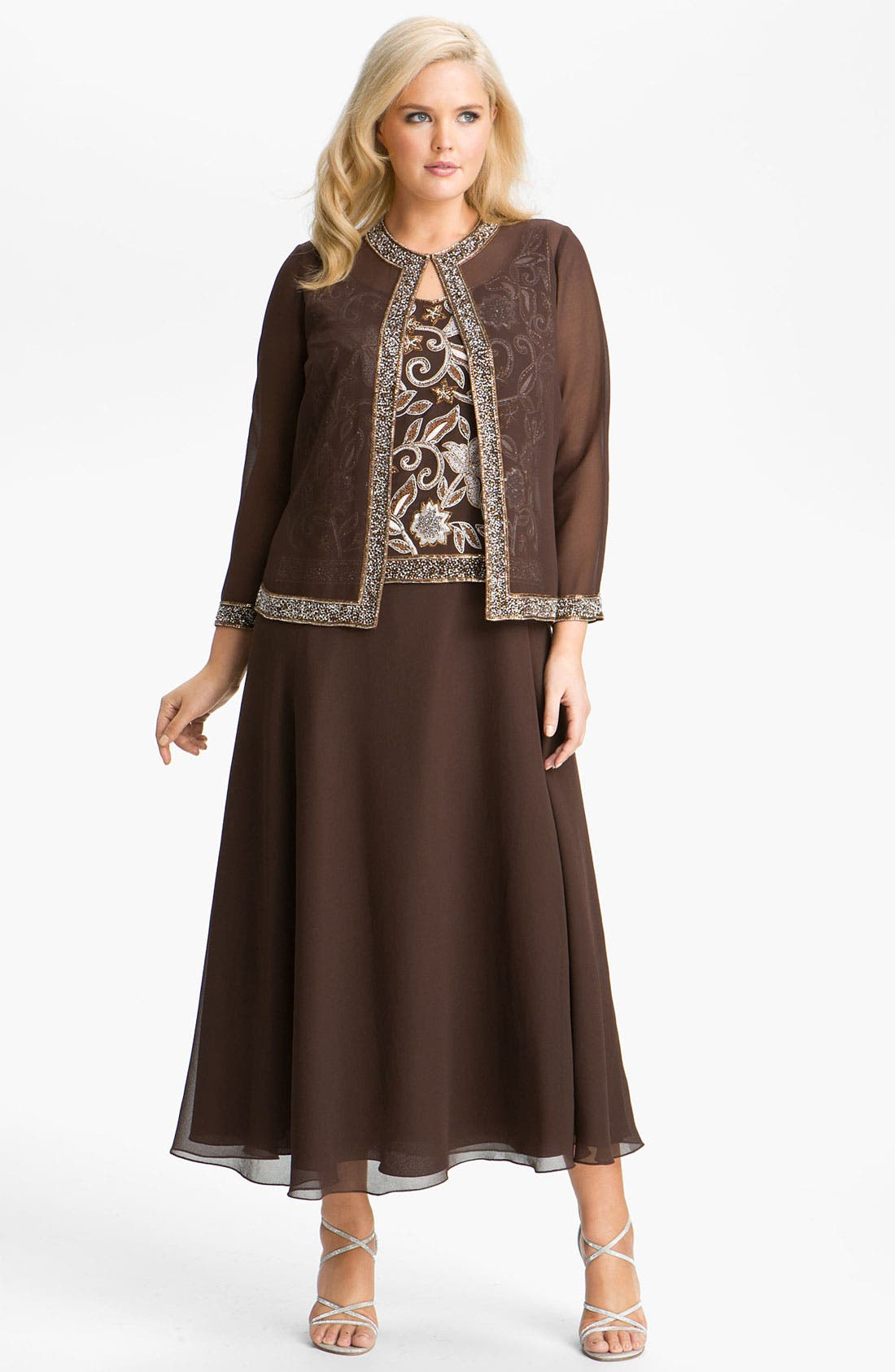 Main Image - J Kara Sheer Beaded Chiffon Gown with Jacket (Plus)