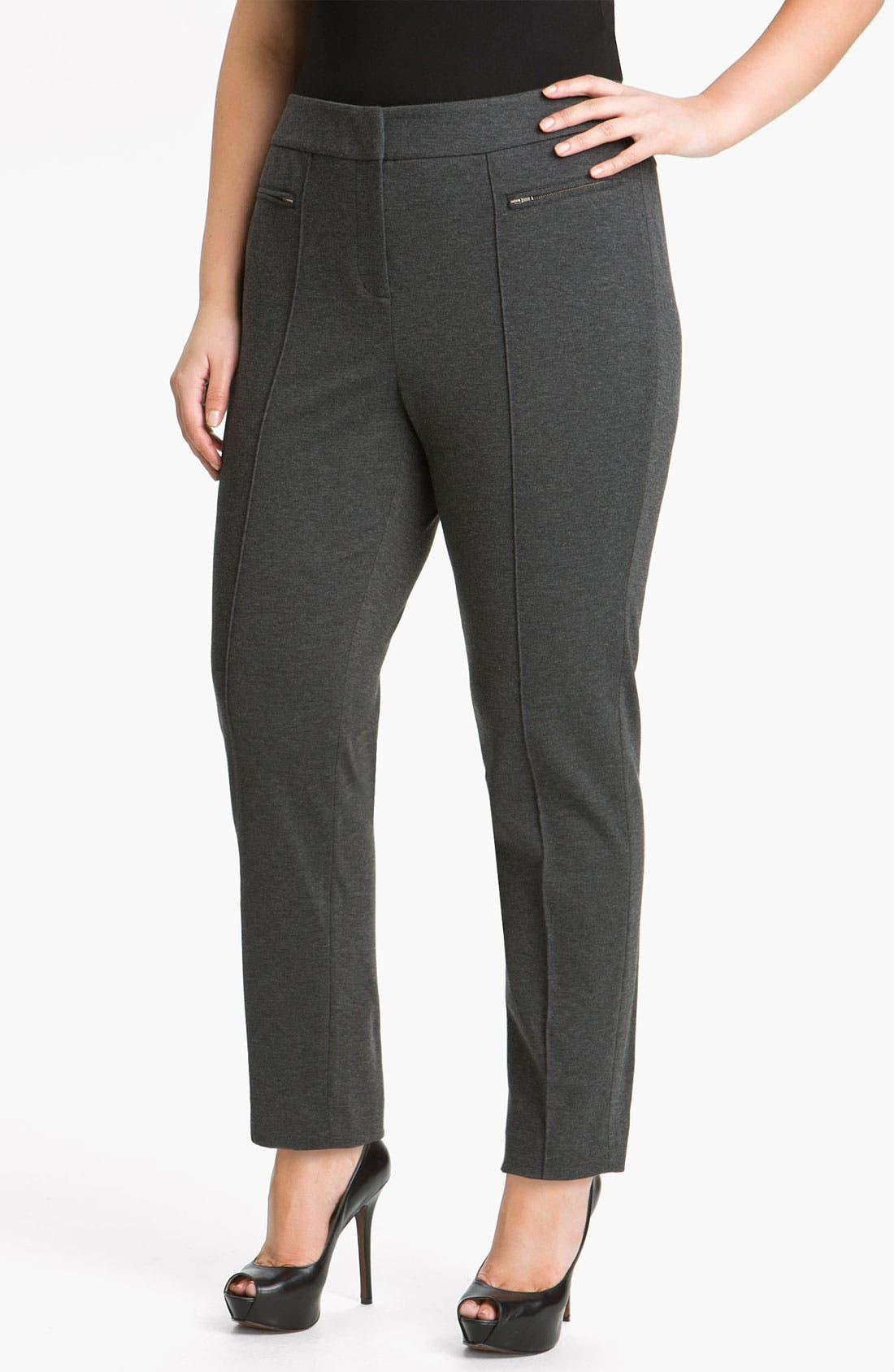 Alternate Image 1 Selected - Sejour Double Zip Pocket Ponte Pants (Plus)