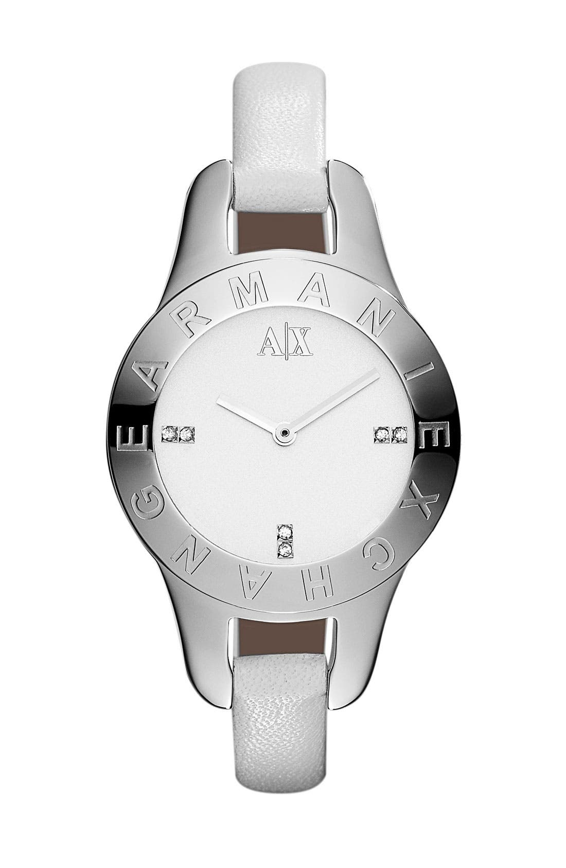 Alternate Image 1 Selected - AX Armani Exchange Round Leather Strap Watch, 30mm (Online Only)