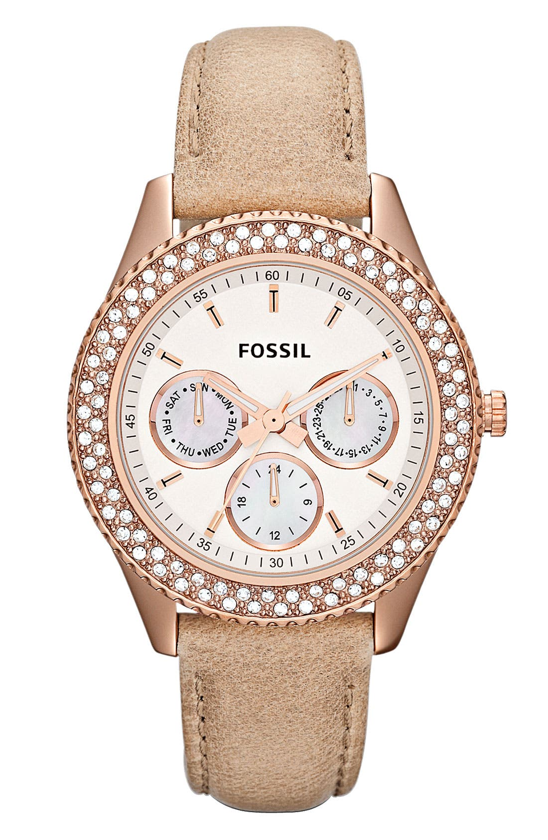 Main Image - Fossil 'Stella' Crystal Bezel Leather Strap Watch, 37mm