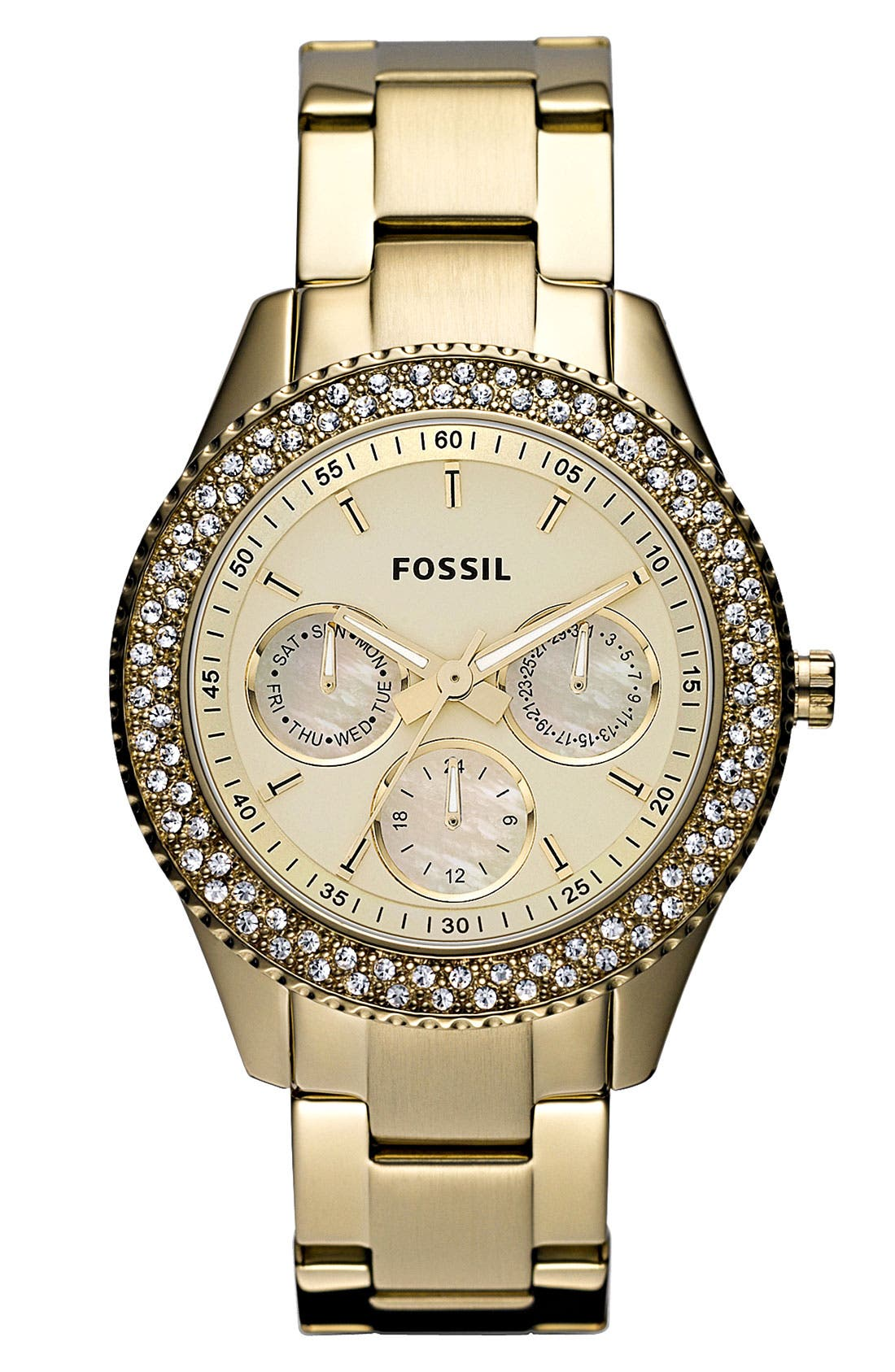Main Image - Fossil 'Stella' Crystal Bezel Bracelet Watch, 37mm
