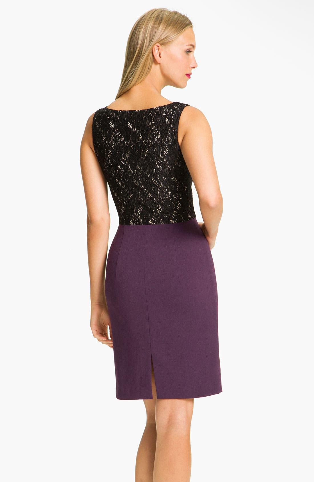 Alternate Image 2  - Black Halo Lace Inset Crepe Sheath Dress