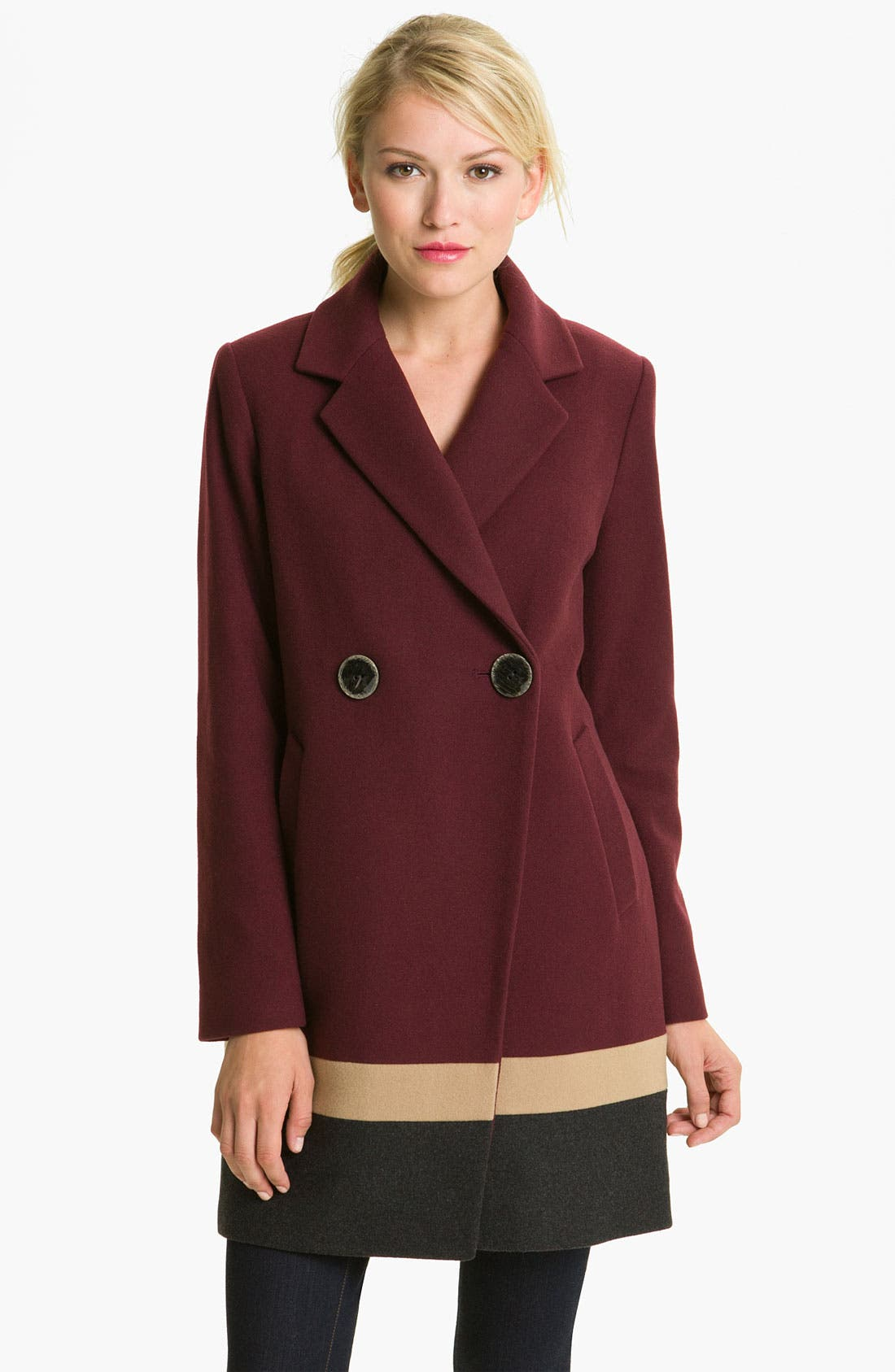 Alternate Image 1 Selected - Vince Camuto Colorblocked Wool Blend Coat