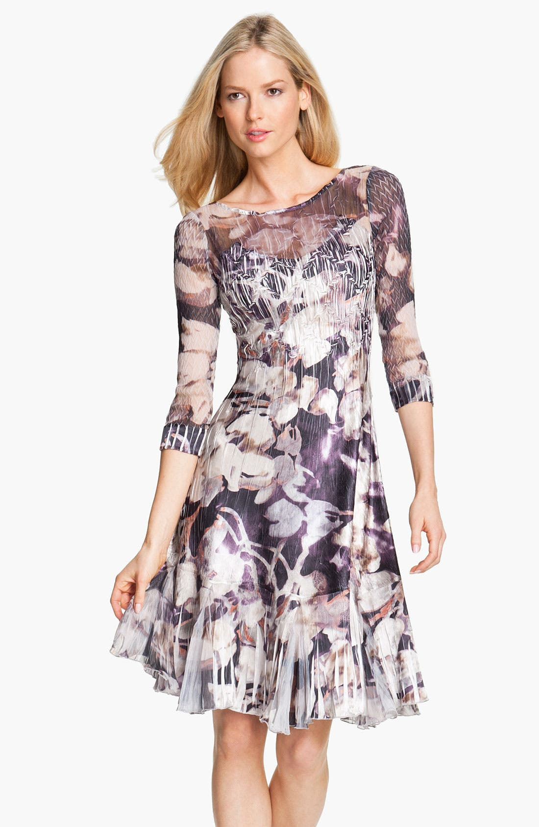 Alternate Image 1 Selected - Komarov Floral Print Crinkle Charmeuse Dress