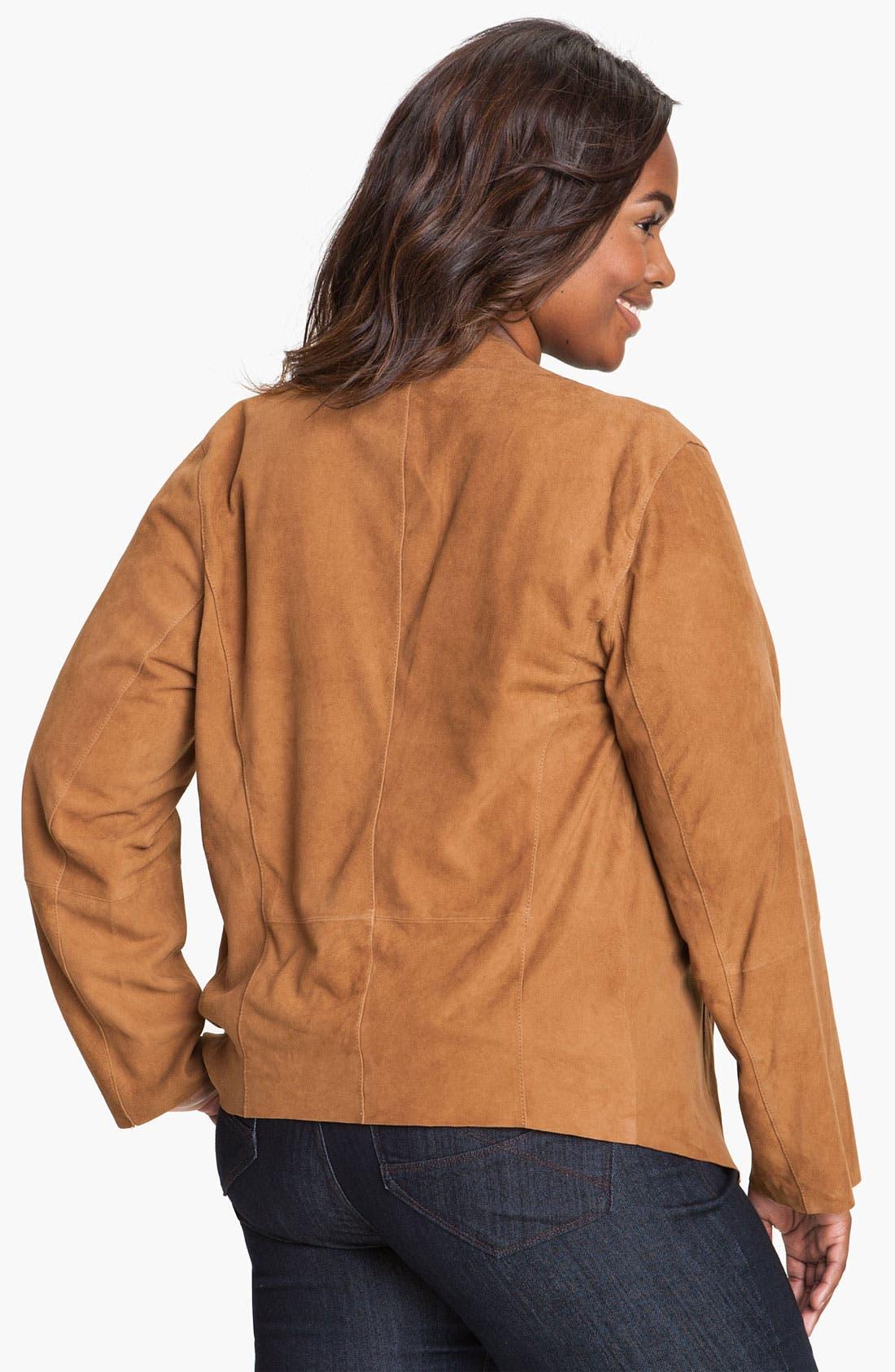 Alternate Image 2  - MICHAEL Michael Kors Drape Front Suede Jacket (Plus)