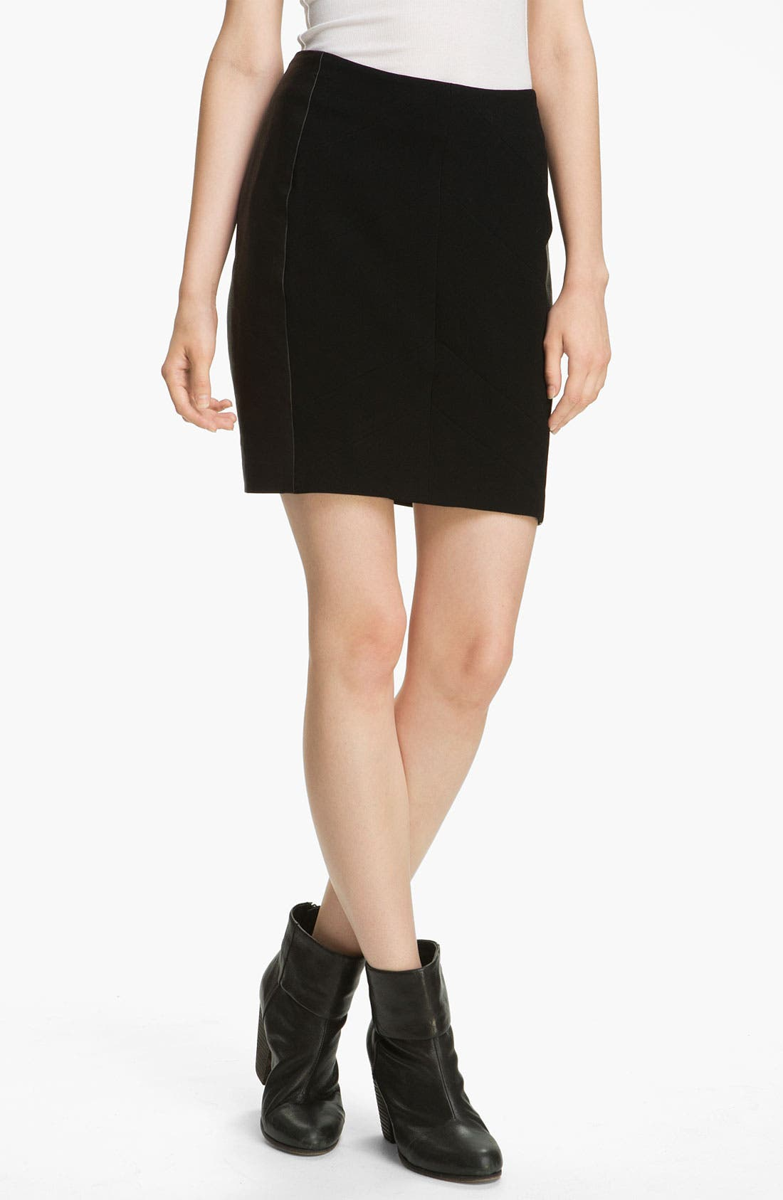 Main Image - rag & bone 'Vanhi' Leather Panel Skirt