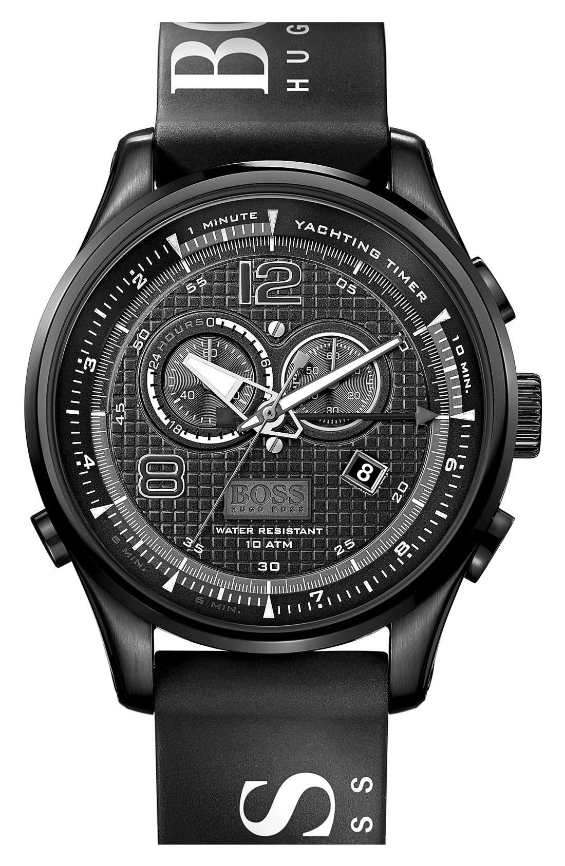 Alternate Image 1 Selected - BOSS HUGO BOSS 'Iconic Regatta' Chronograph Silicone Strap Watch, 46mm
