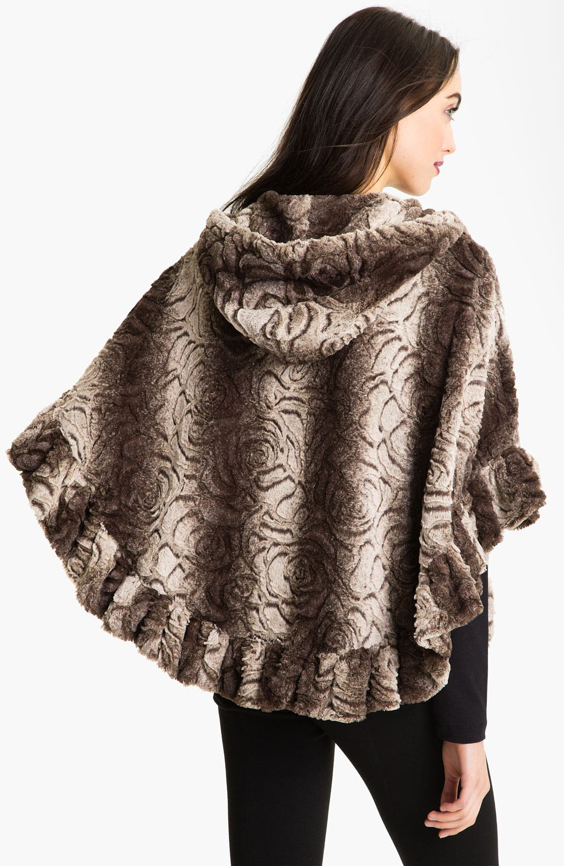 Alternate Image 2  - Damselle Hooded Faux Fur Cape
