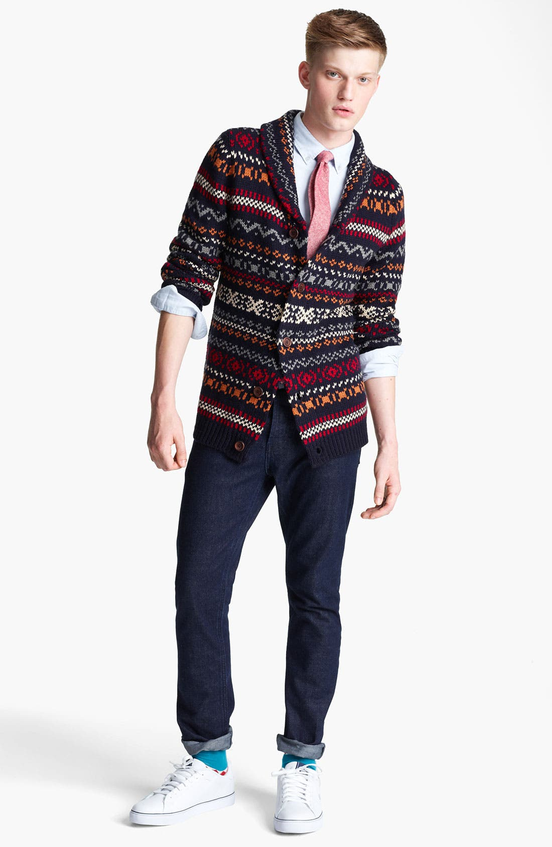 Alternate Image 4  - Topman Fair Isle Shawl Collar Cardigan