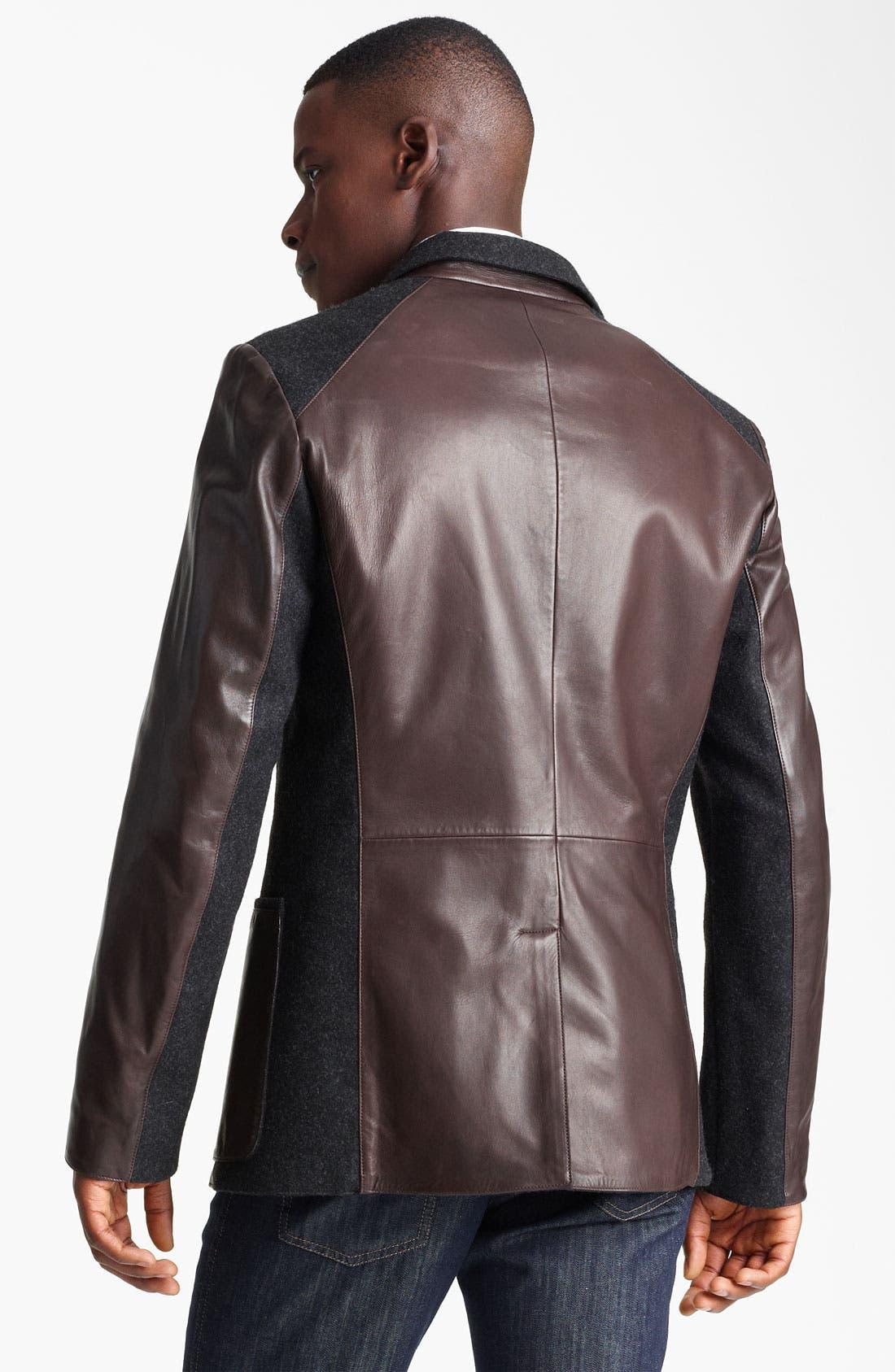 Alternate Image 2  - Salvatore Ferragamo Cotton Trim Leather Jacket