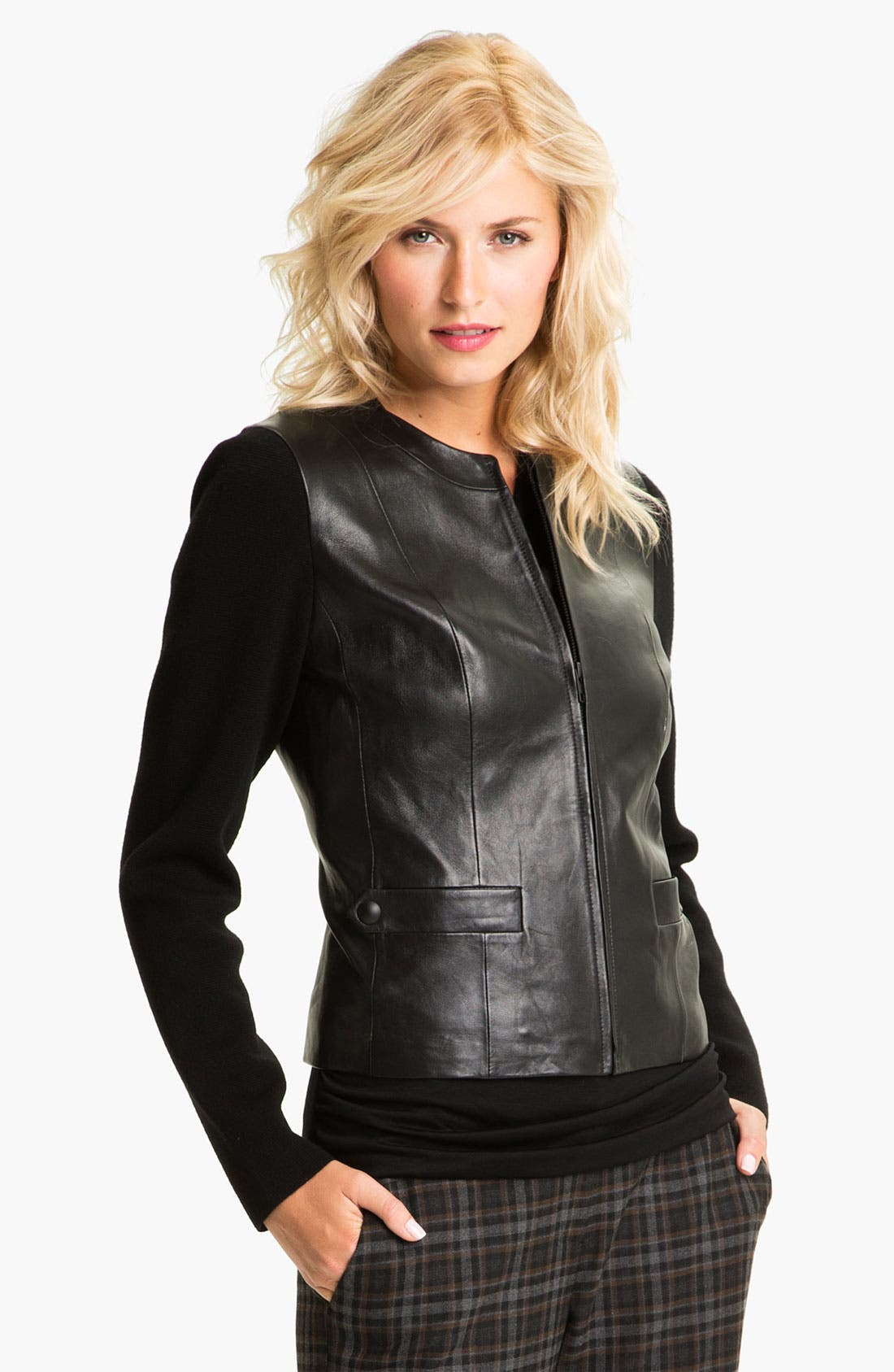 Main Image - Classiques Entier® Knit Sleeve Leather Jacket