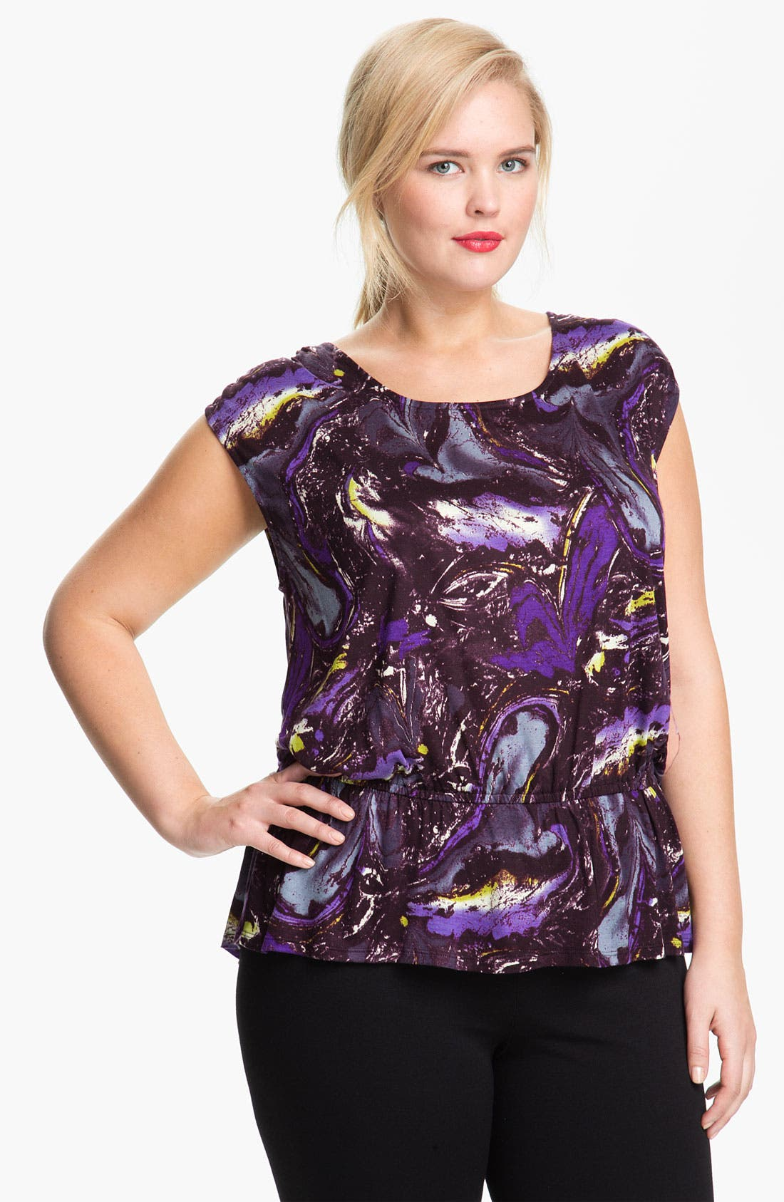 Alternate Image 1 Selected - Olivia Moon Bloused Print Top (Plus)