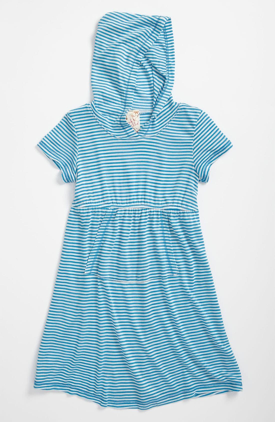 Main Image - Pink Vanilla Hooded Stripe Dress (Little Girls)