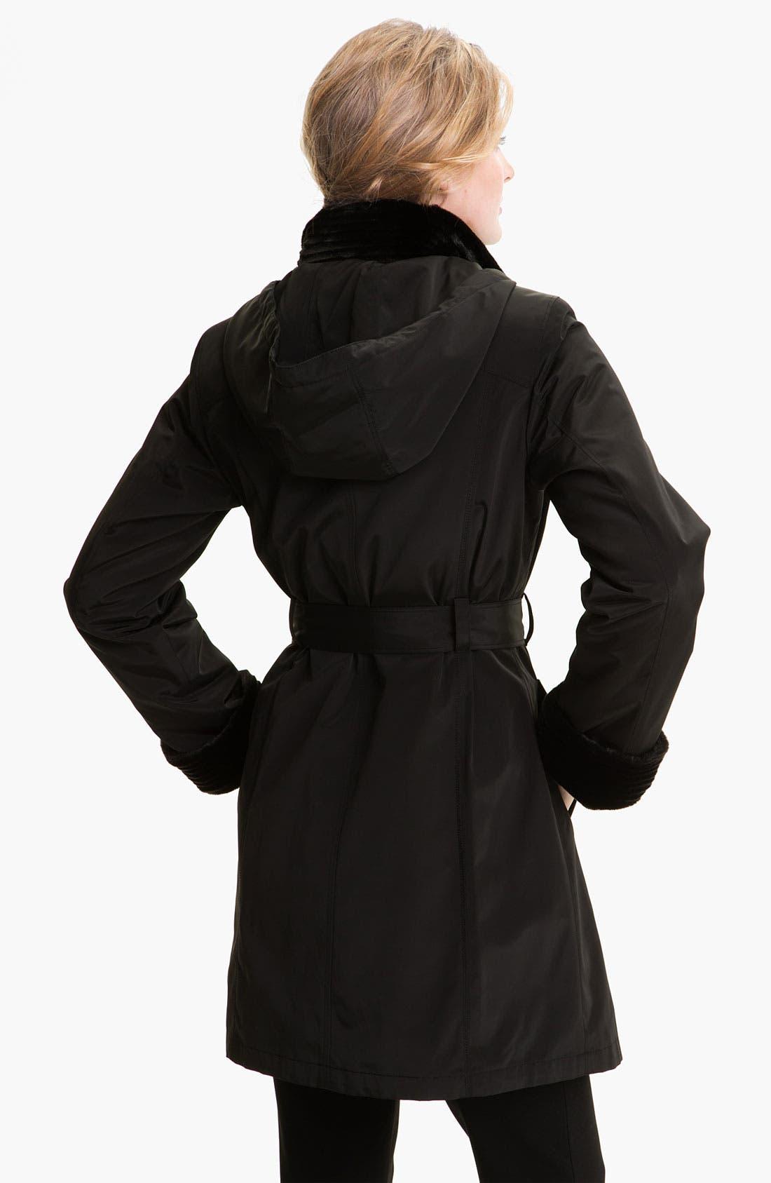 Alternate Image 2  - Gallery Faux Fur Trim Storm Coat
