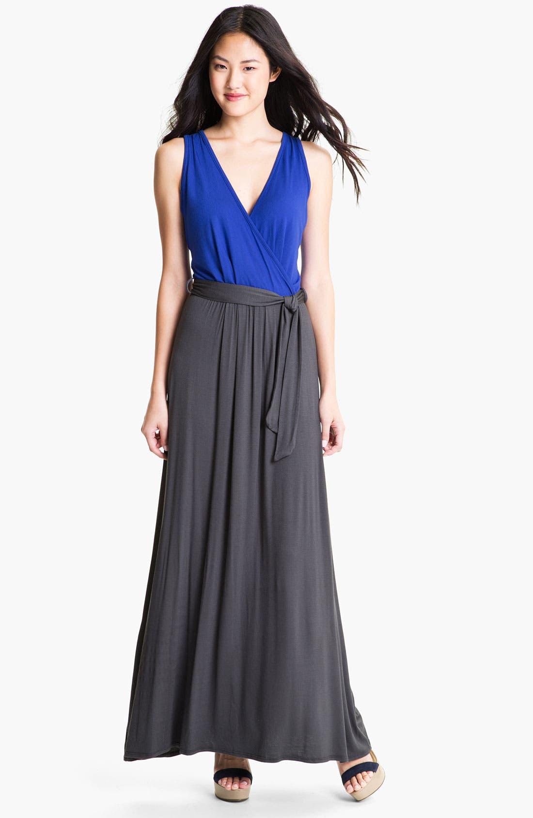 Main Image - Loveappella Two Tone Surplice Maxi Dress (Petite)