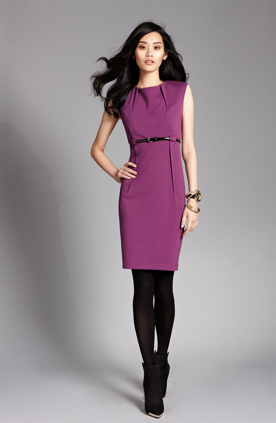 Alternate Image 4  - Calvin Klein 'Stretch Luxe' Belted Sheath Dress