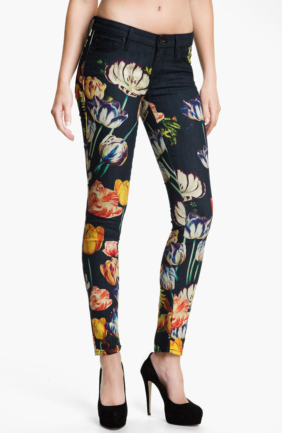 Main Image - MOTHER 'The Looker' Print Skinny Jeans (Kissed Me Floral)