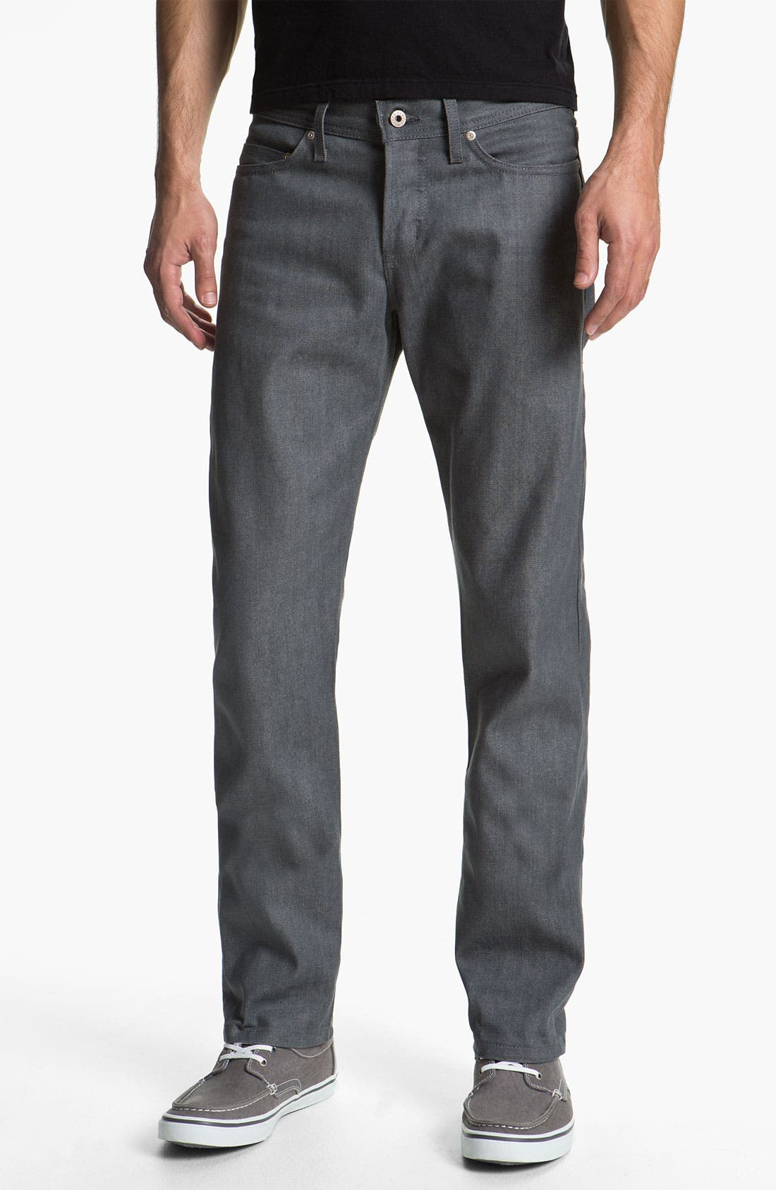 Alternate Image 1 Selected - Naked & Famous Denim Weird Guy Slim Fit Selvedge Jeans (Grey)