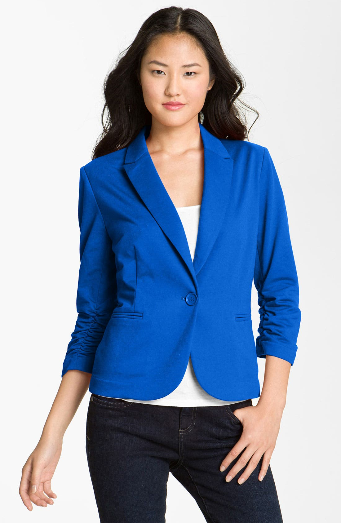 Alternate Image 1 Selected - Olivia Moon Ruched Sleeve Jacket