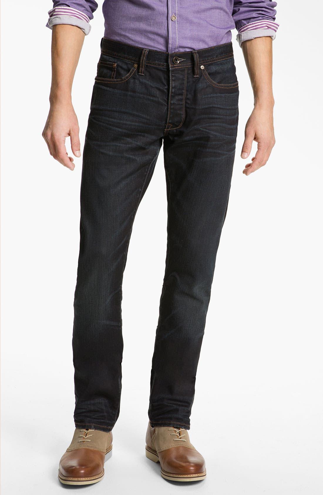 Main Image - John Varvatos 'Bowery' Slim Straight Leg Jeans (Ink)