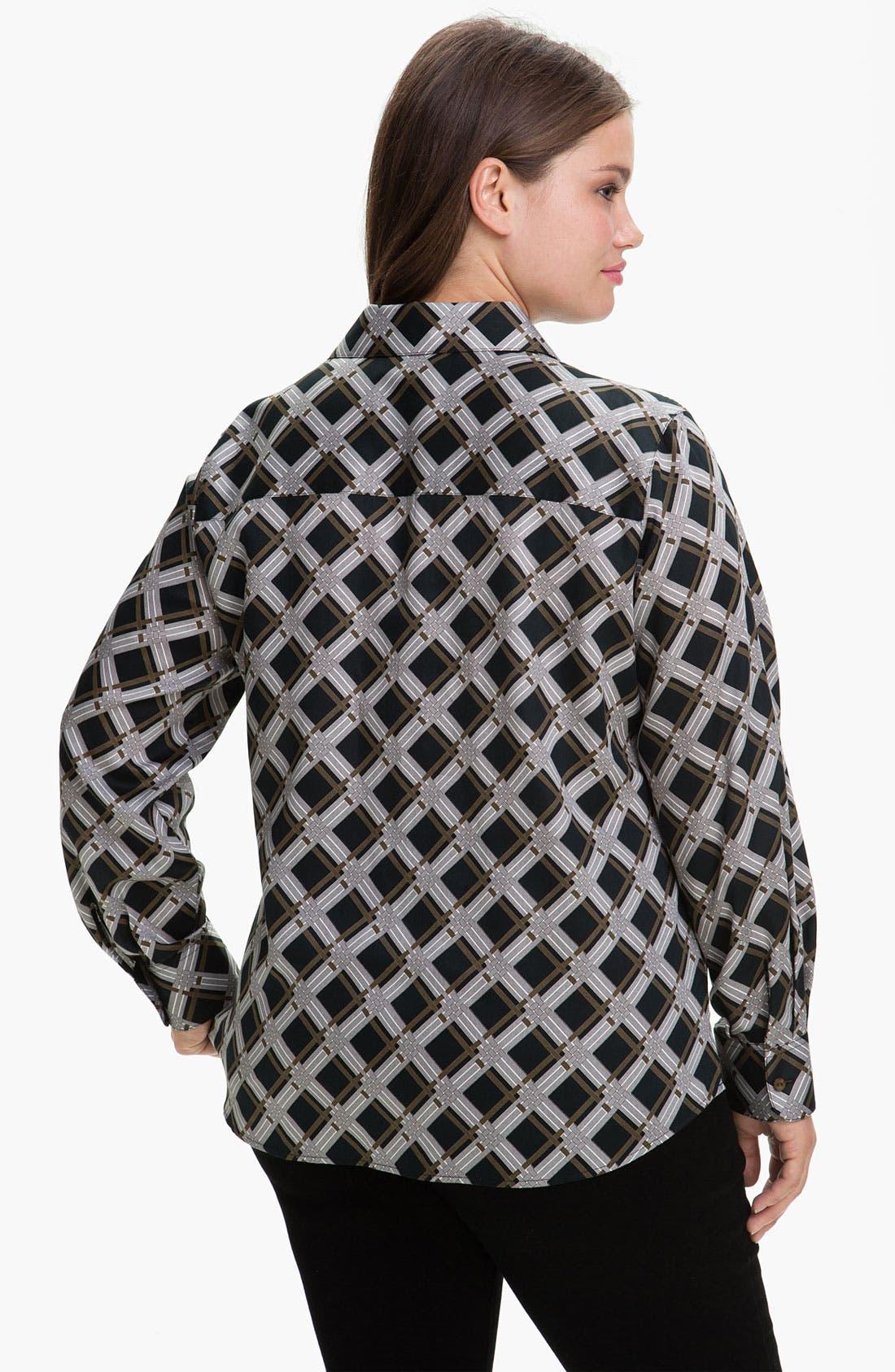 Alternate Image 2  - Foxcroft 'Graphic Plaid' Wrinkle Free Shaped Shirt (Plus)