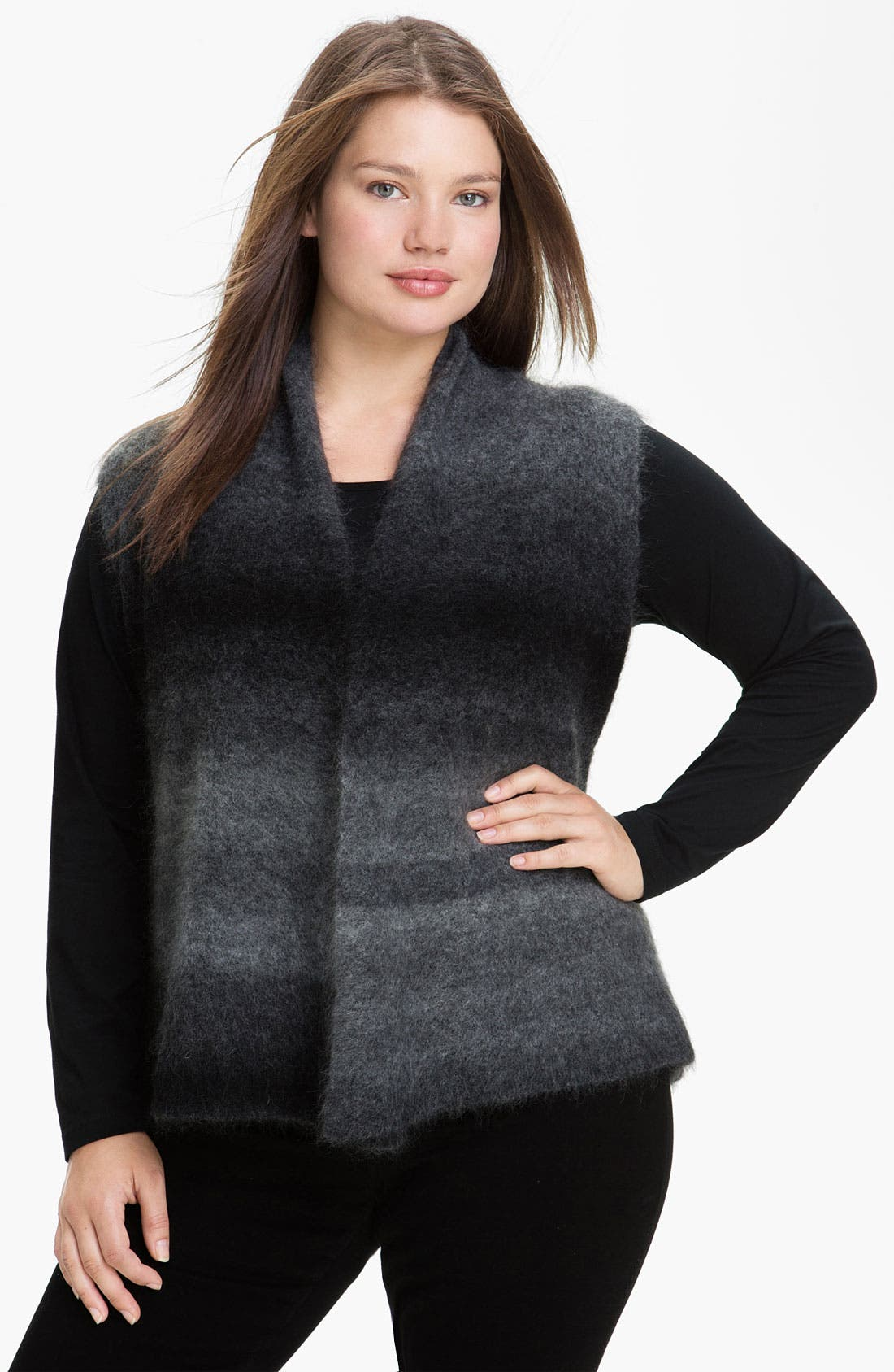 Alternate Image 1 Selected - Eileen Fisher Shaped Ombré Vest (Plus)