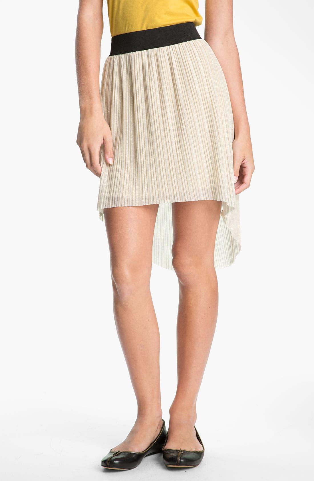 Main Image - Mimi Chica Metallic Pleat High/Low Skirt