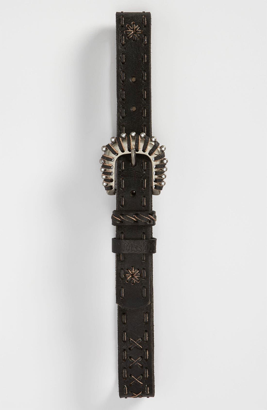 Alternate Image 1 Selected - Miss Me Leather Belt (Big Girls)