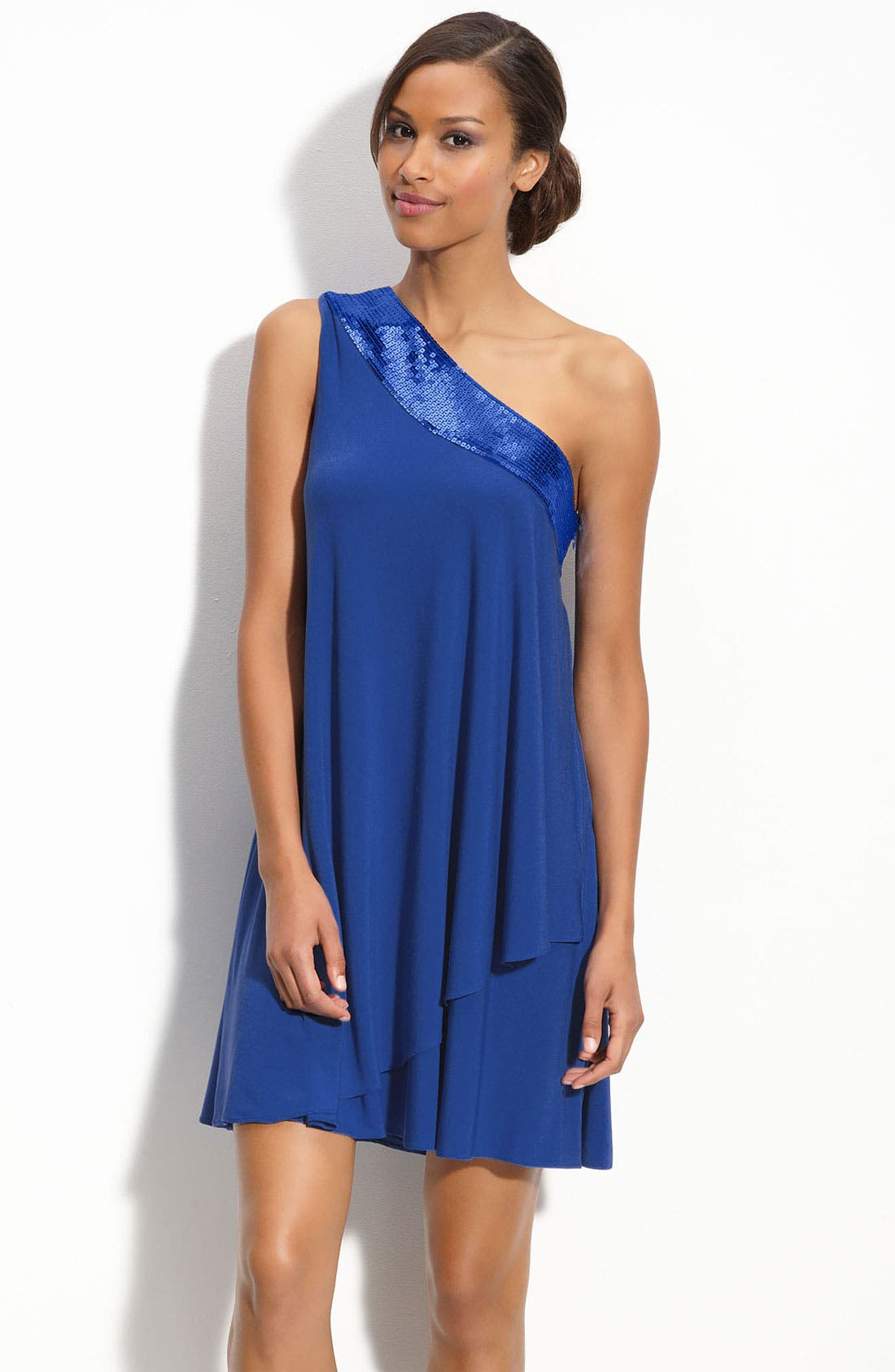 Main Image - Calvin Klein Sequin Trim One Shoulder Trapeze Dress