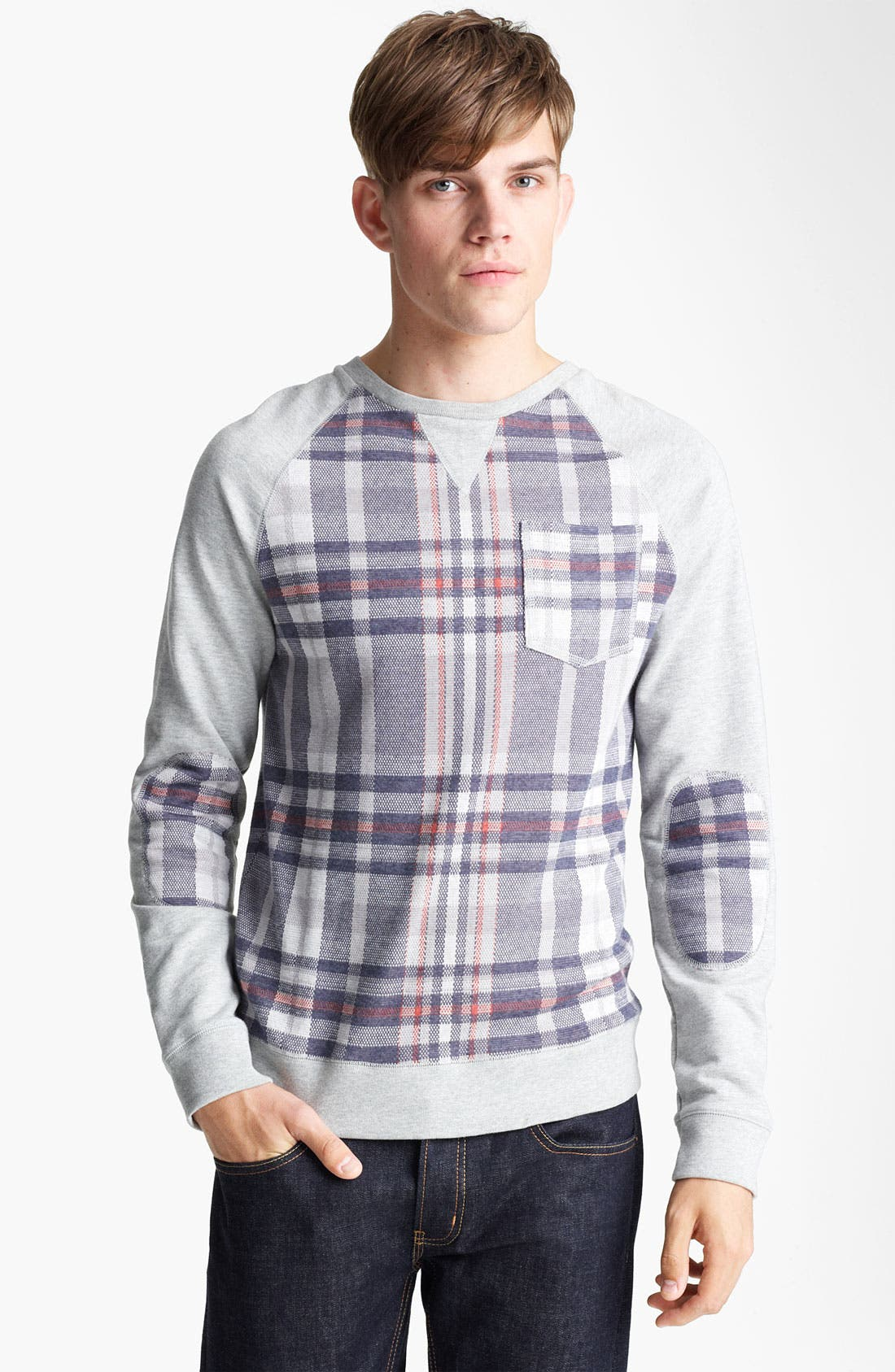 Alternate Image 1 Selected - Topman Check Crewneck Sweatshirt