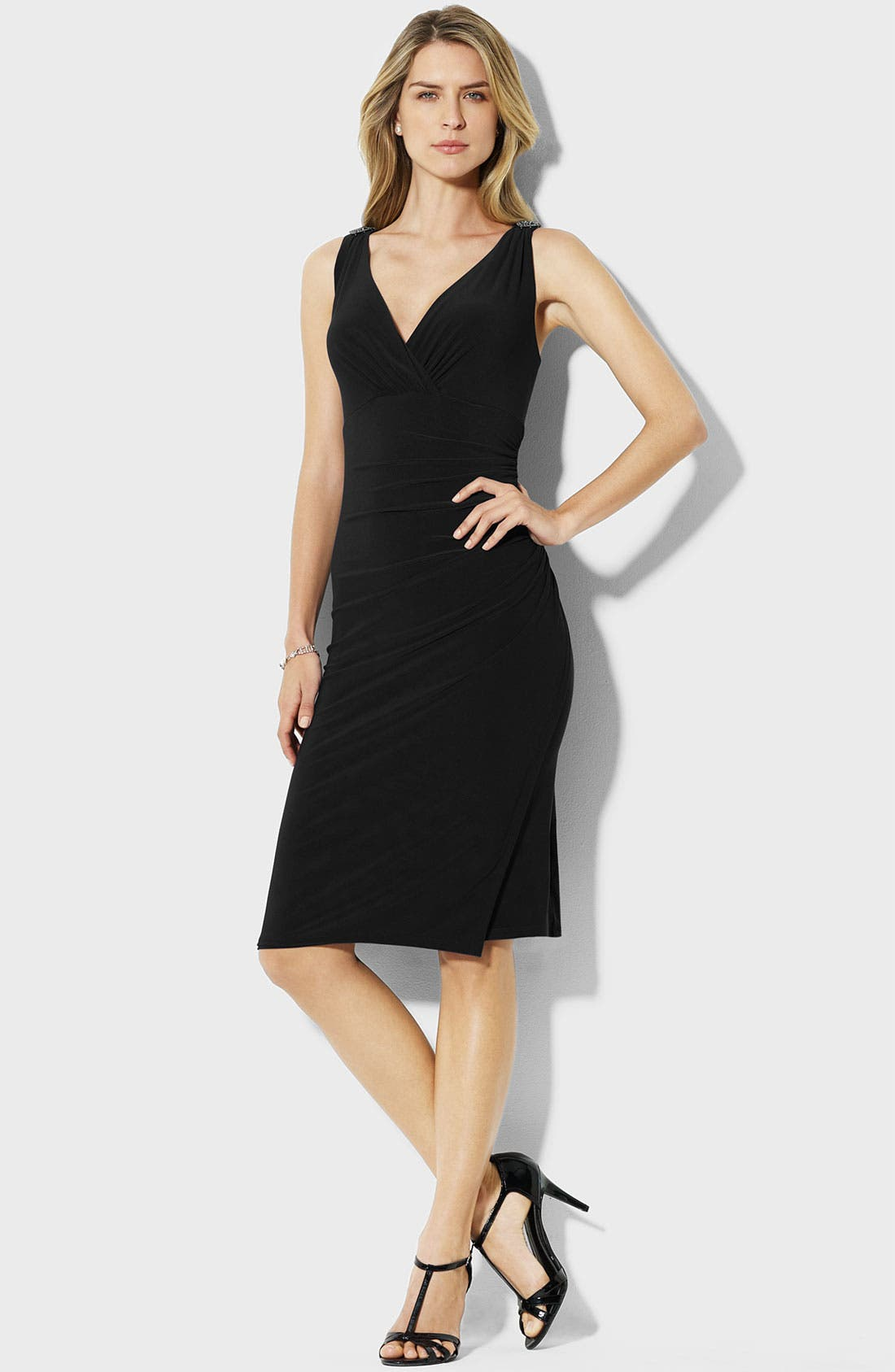 Main Image - Lauren Ralph Lauren V-Back Jersey Sheath Dress