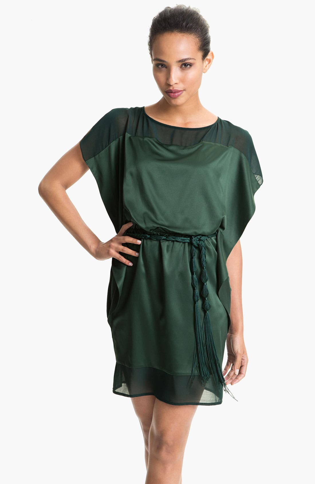 Main Image - Jessica Simpson Illusion Yoke Charmeuse Tunic Dress