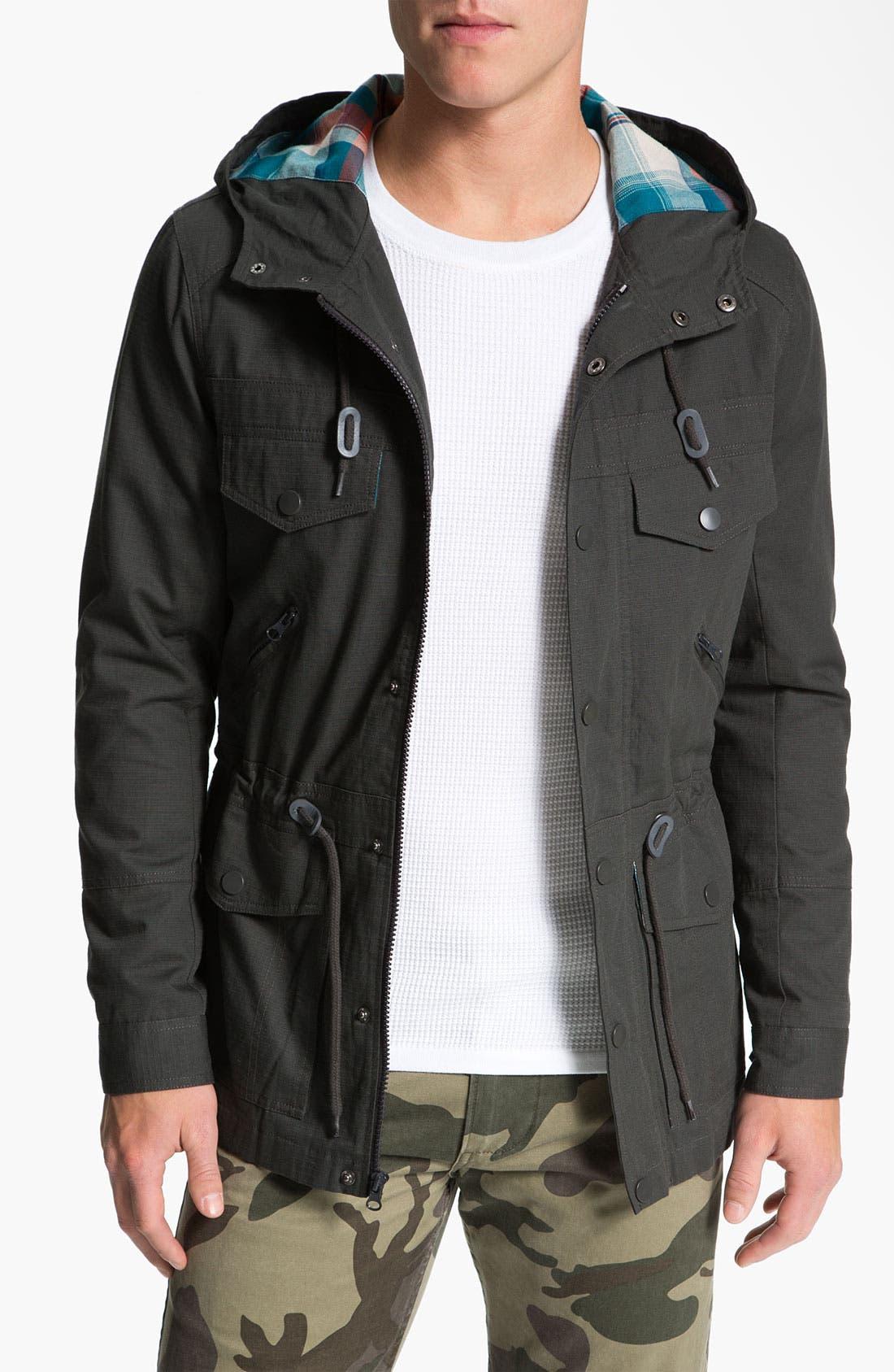 Alternate Image 1  - Kane & Unke Ripstop Cotton Trim Fit Hooded Jacket