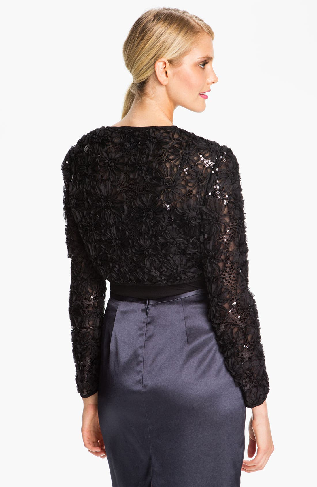 Alternate Image 2  - Adrianna Papell Embroidered Sequin Mesh Bolero